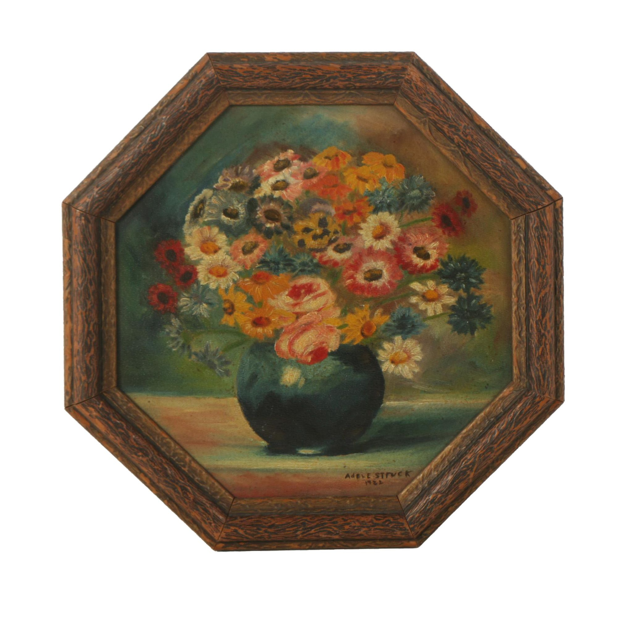 Adele Struck Oil Painting of a Flower Arrangement on Octagonal Board
