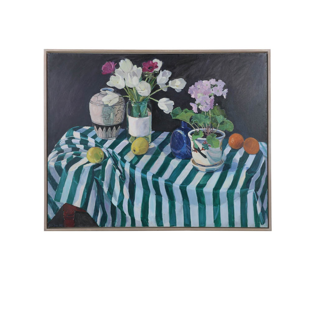 Debra A. Yoo 1992 Oil Painting on Canvas of Still Life with Flowers and Fruit