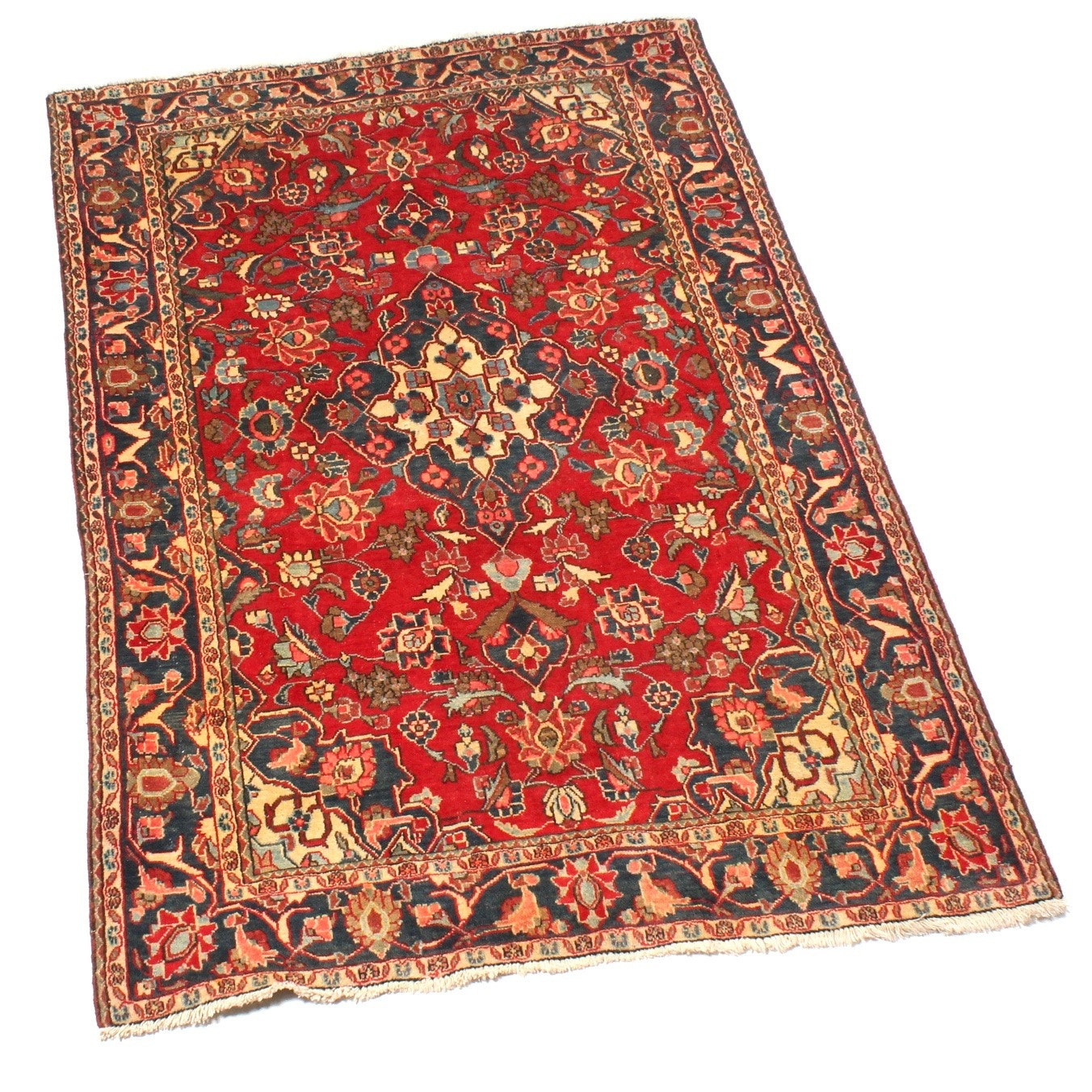 Vintage Hand-Knotted Persian Kashan Rug