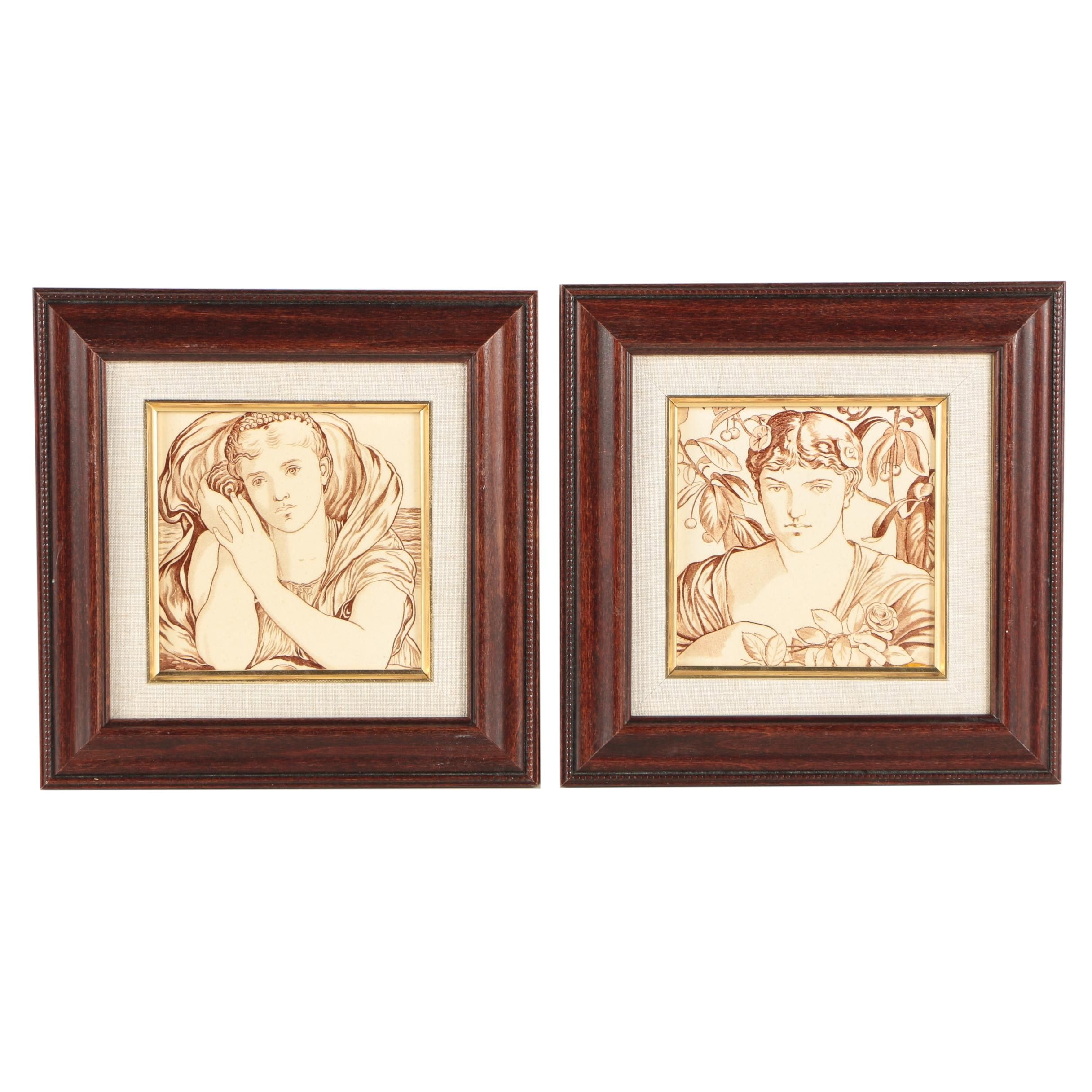 Two Vintage Stipple Engravings on Tile Classical Portraits