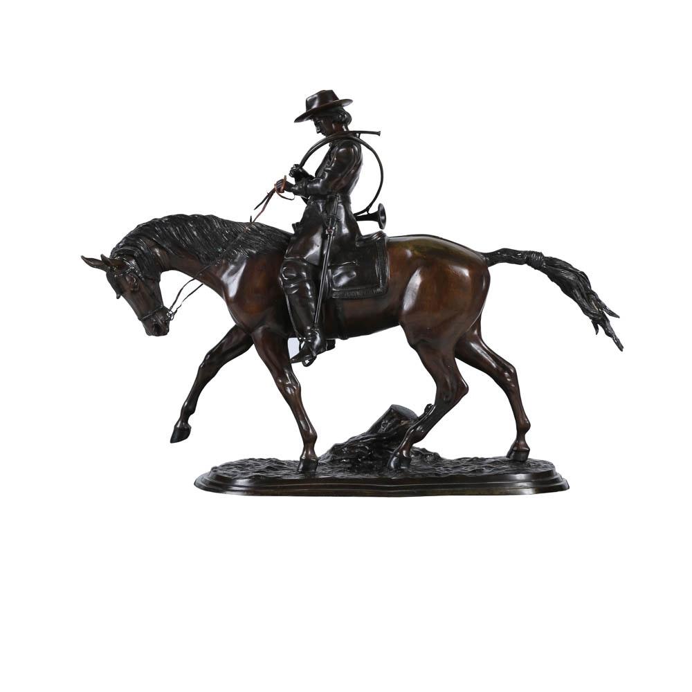 Brass Sculpture After Pierre-Jules Mene Man on Horseback