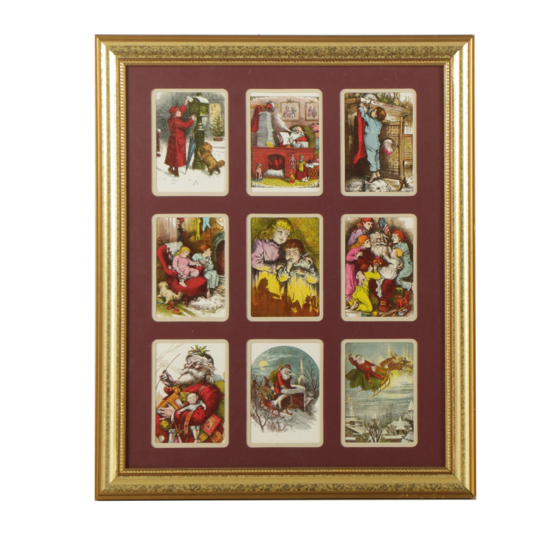 Mechanical Prints on Paper of Santa Claus and Children