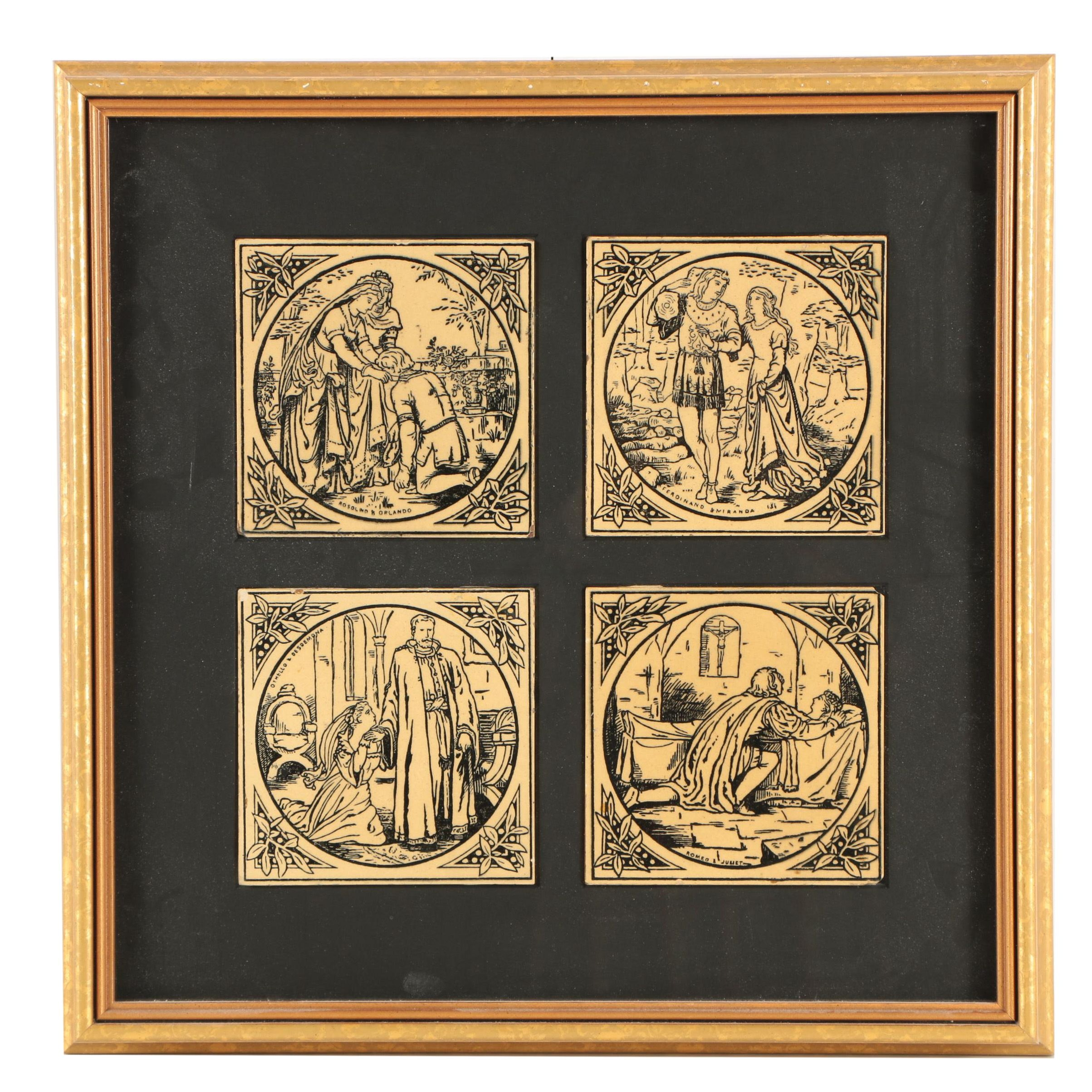 Vintage Prints on Tiles of Couples from Shakesperean Plays