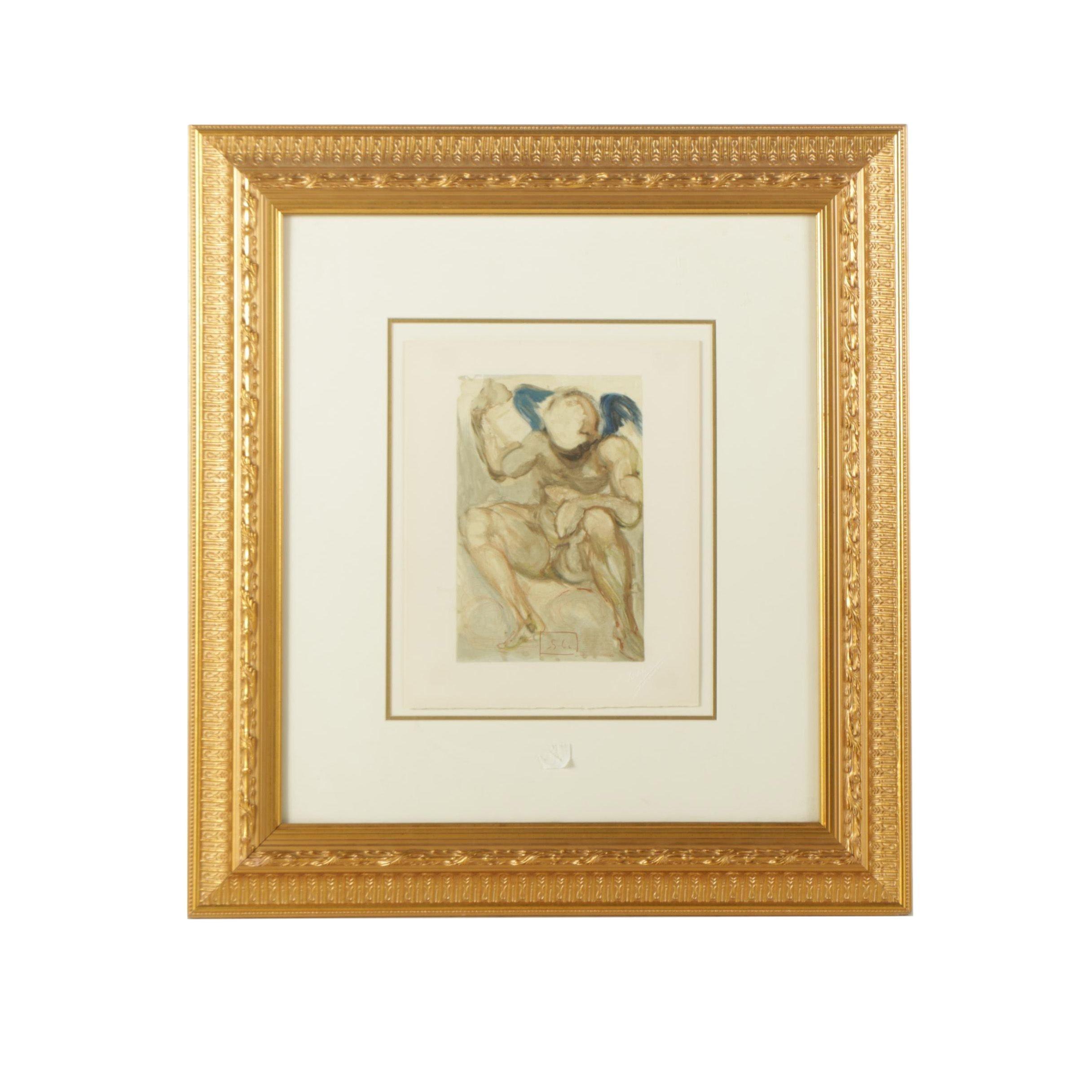 "Salvador Dali Wood Engraving on Paper "" Purgatory Canto 15"""