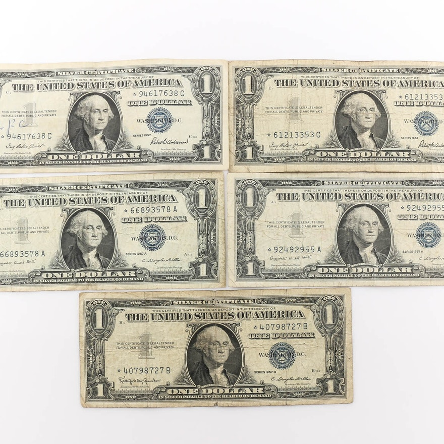 Group Of Five Star Note Blue Seal One Dollar Silver Certificates Ebth