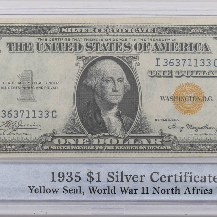 1935 A One Dollar Silver Certificate With Yellow Seal Ebth