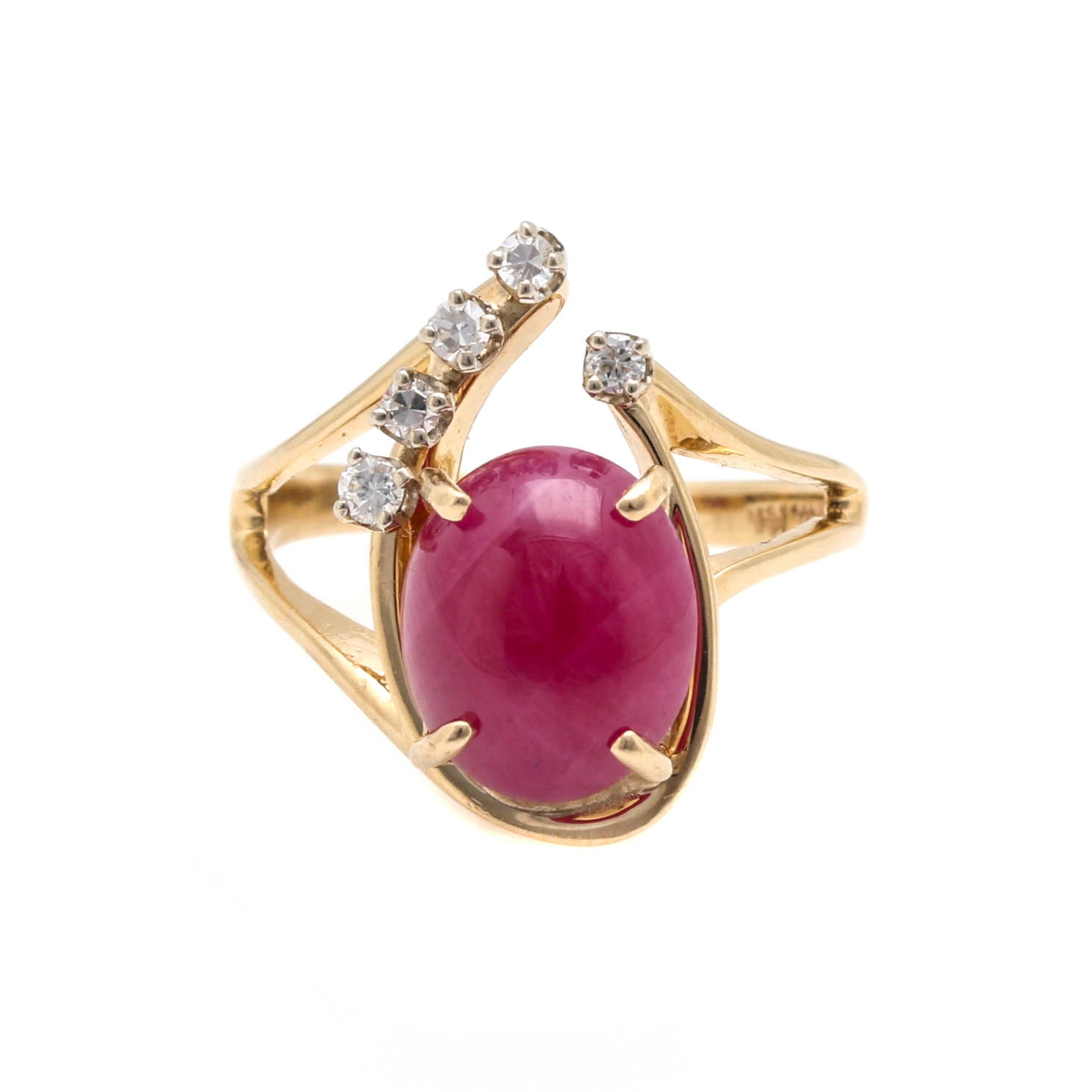14K Yellow Gold 3.90 CT Ruby and Diamond Ring