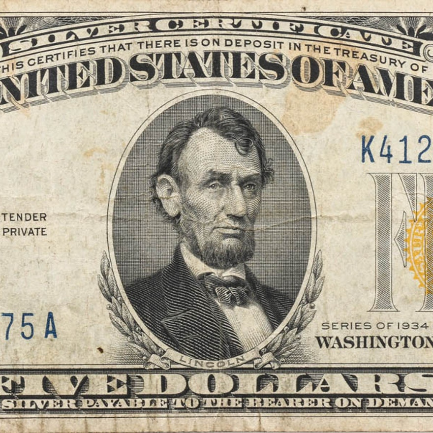 1934 A Five Dollar Silver Certificate With Yellow Seal Ebth