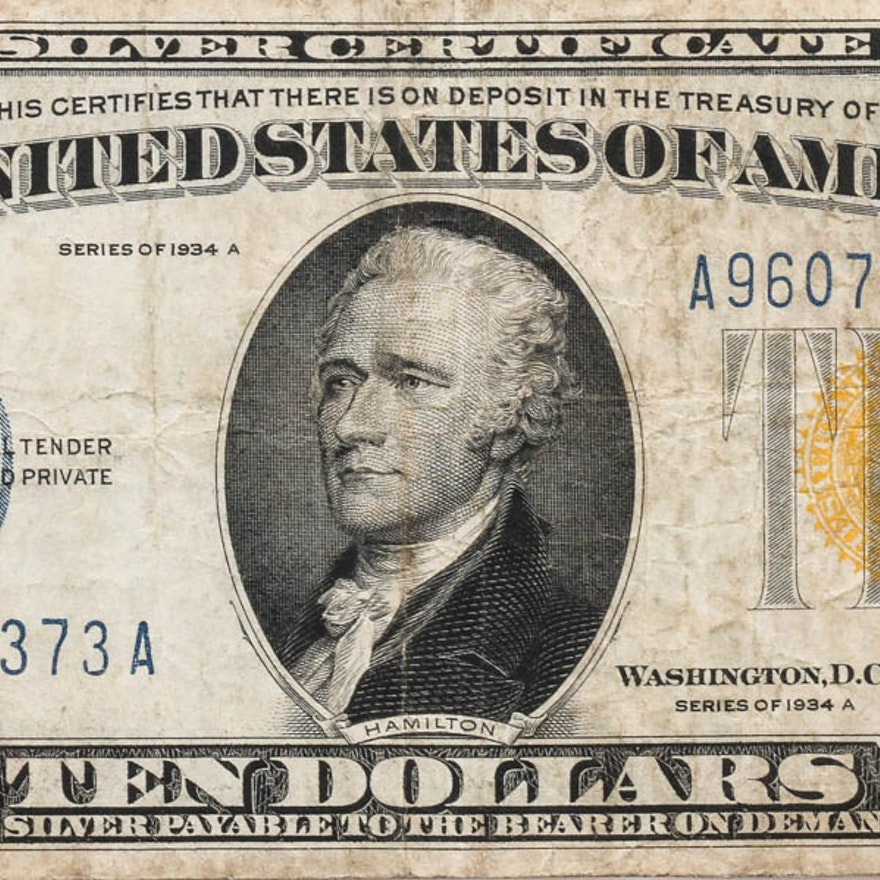 1934 A Ten Dollar Silver Certificate With Yellow Seal Ebth