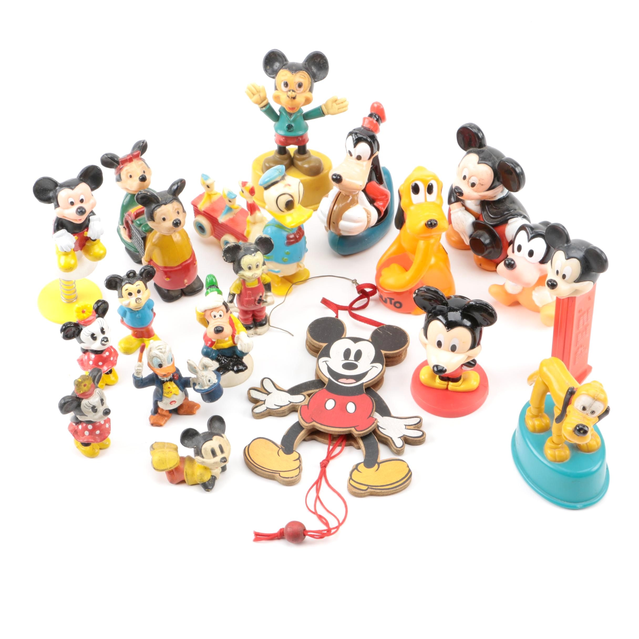 Assortment of Disney Plastic Figurines including Mickey, Minnie, Donald and More