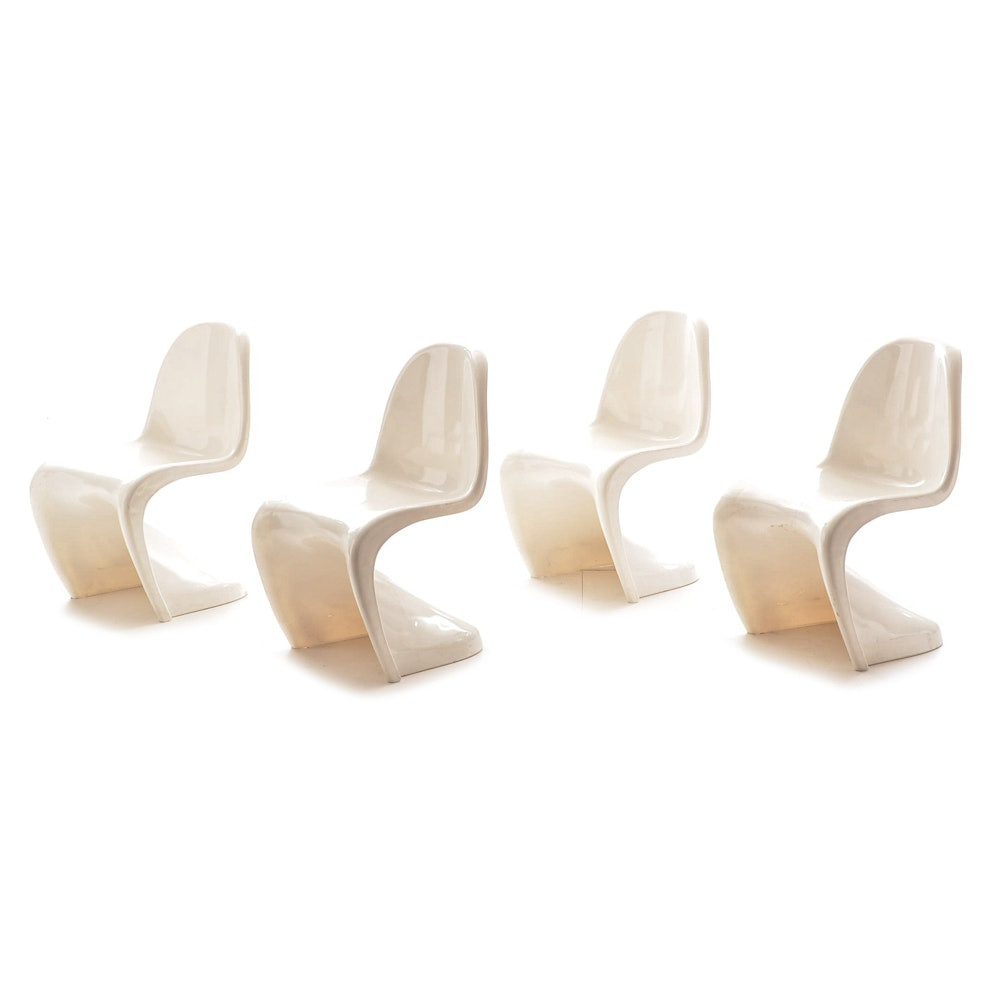 Superbe Four Modern Verner Panton Style Chairs ...