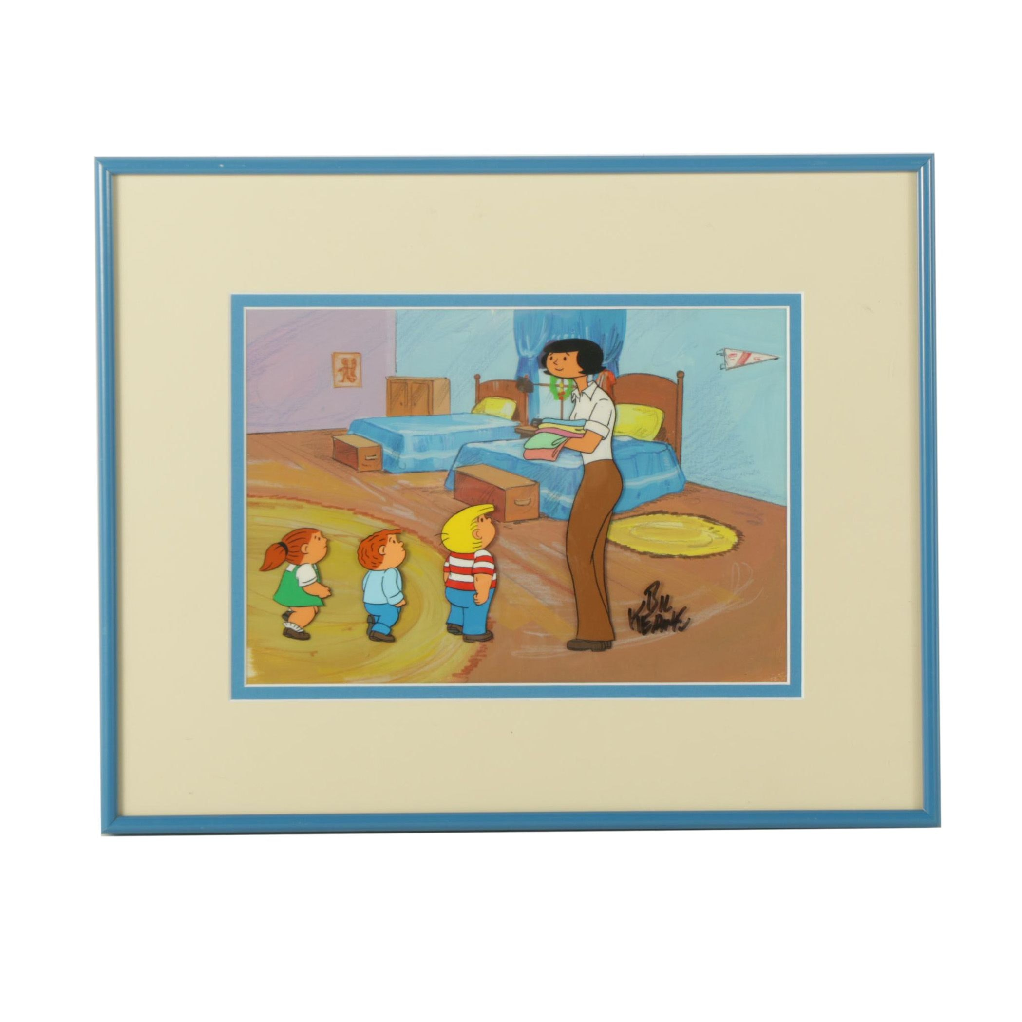 """Bil Keane Signed Animation Cel for """"The Family Circus"""""""