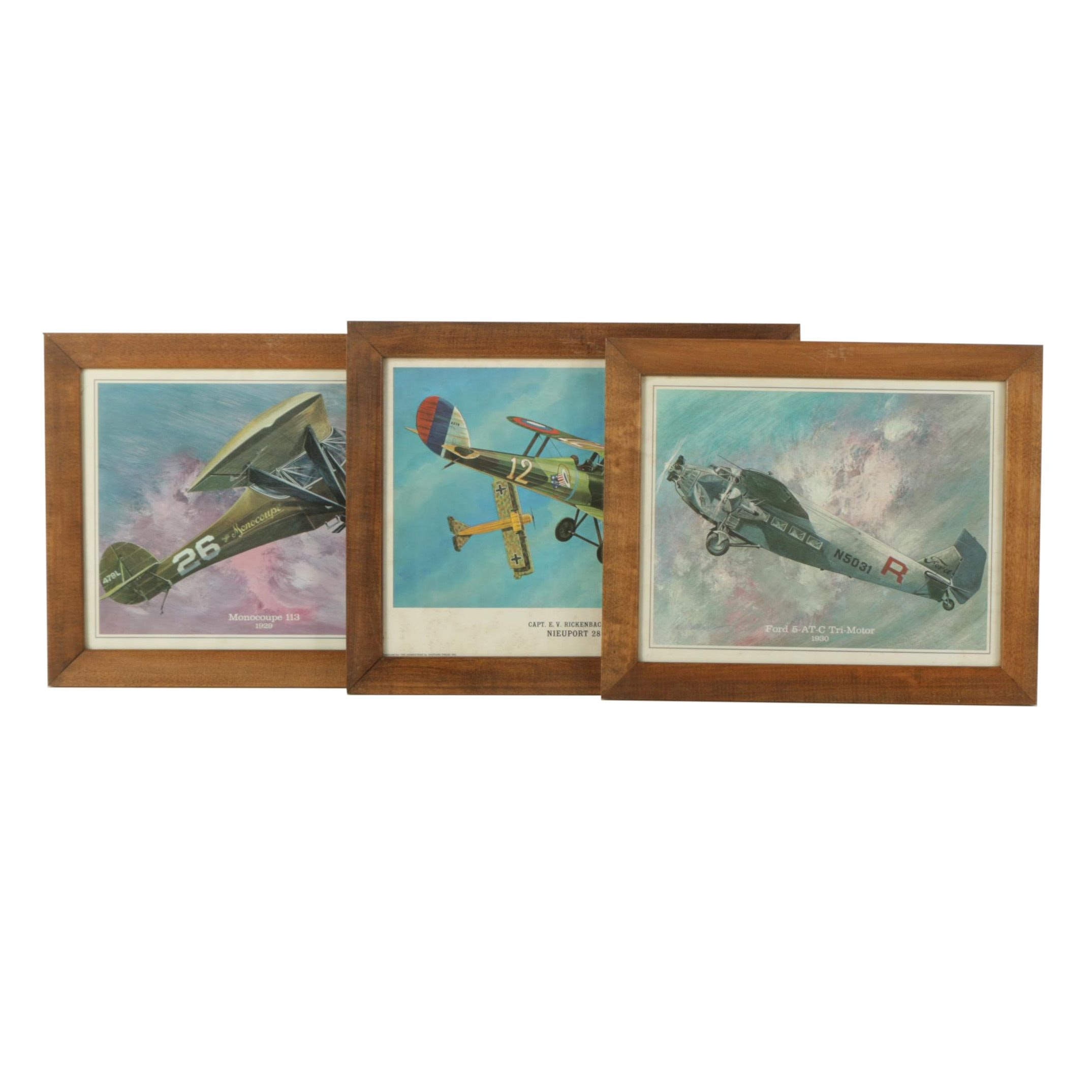 Offset Lithograph Prints of Vintage Airplanes