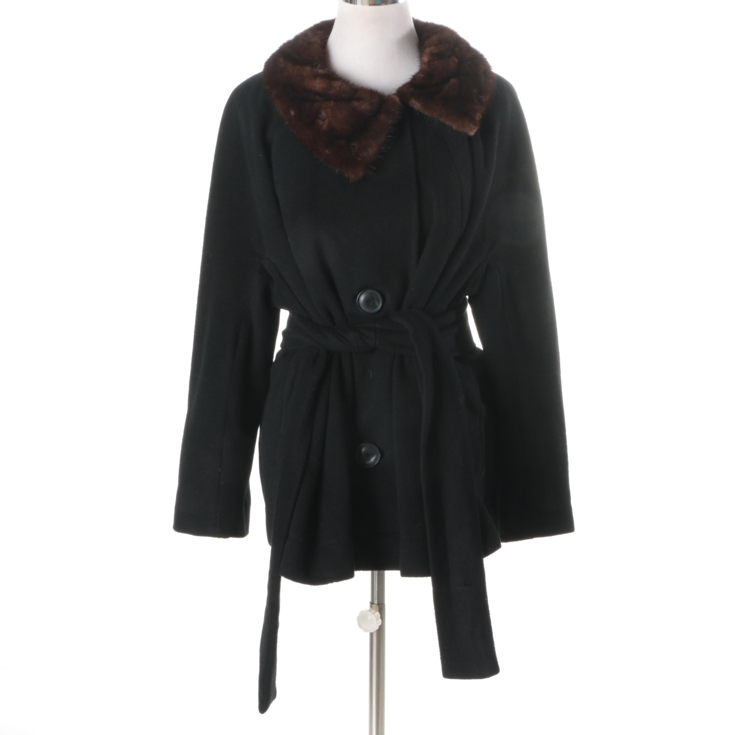Women's Vintage Brentshire Cashmere Coat with Mink Fur Collar