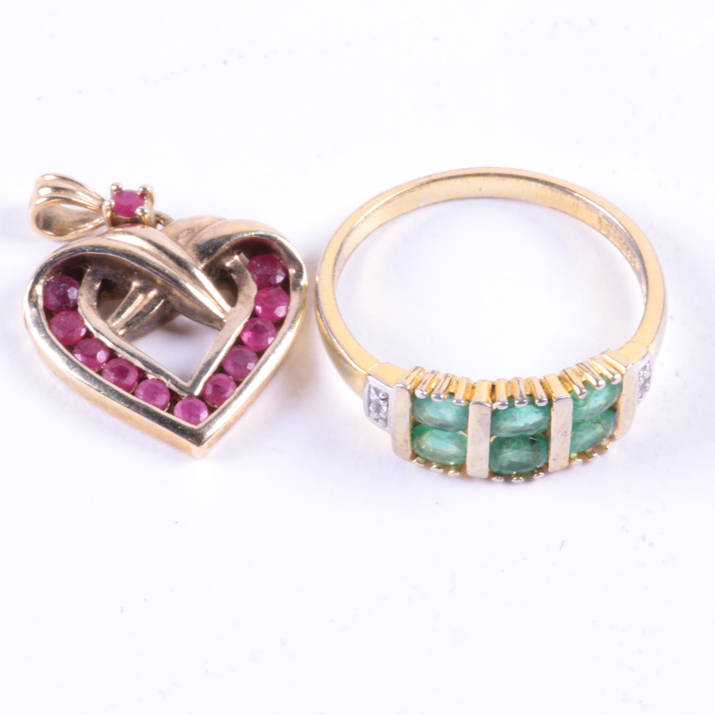 Sterling Silver and Ruby Pendant and Sauer Ring with Emeralds