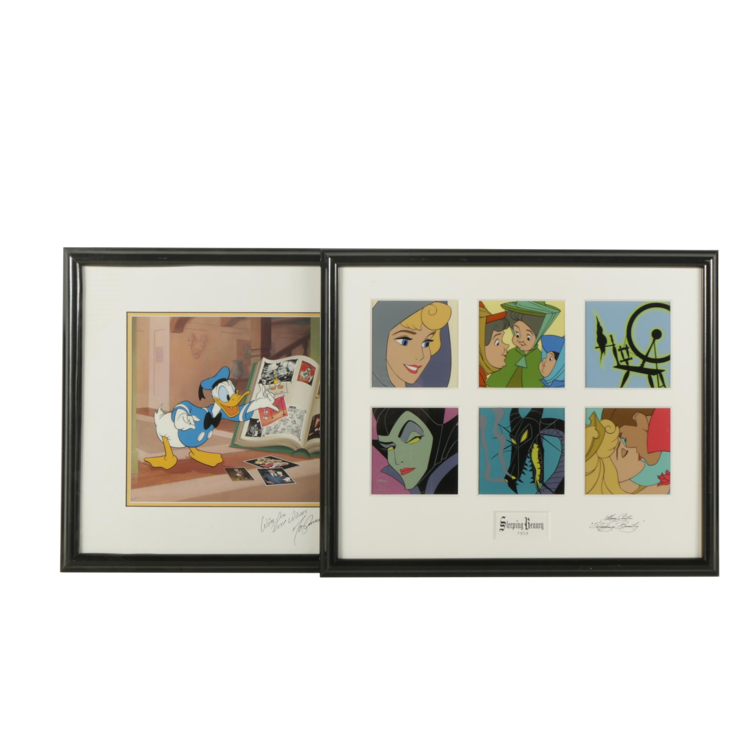 Limited Edition Disney Animation Cels Featuring Donald Duck and Sleeping Beauty