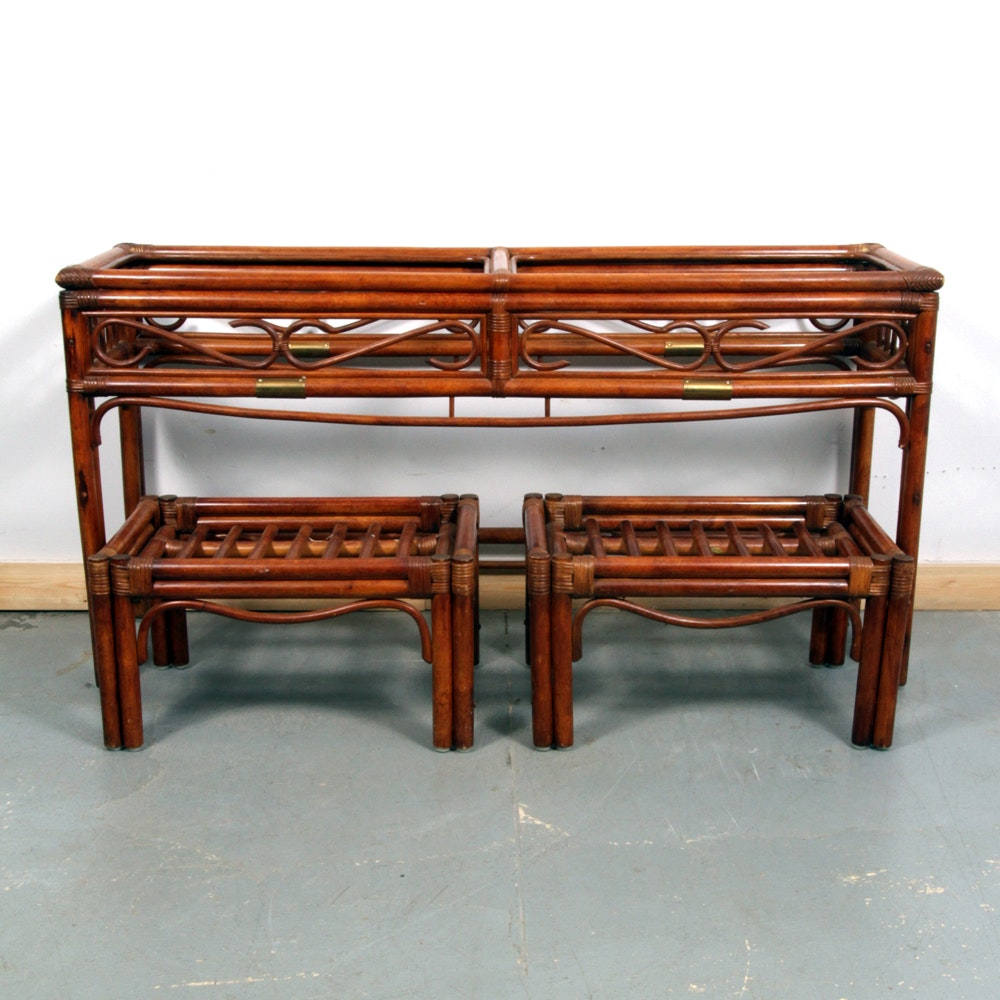 Rattan Console Table With Matching Stools