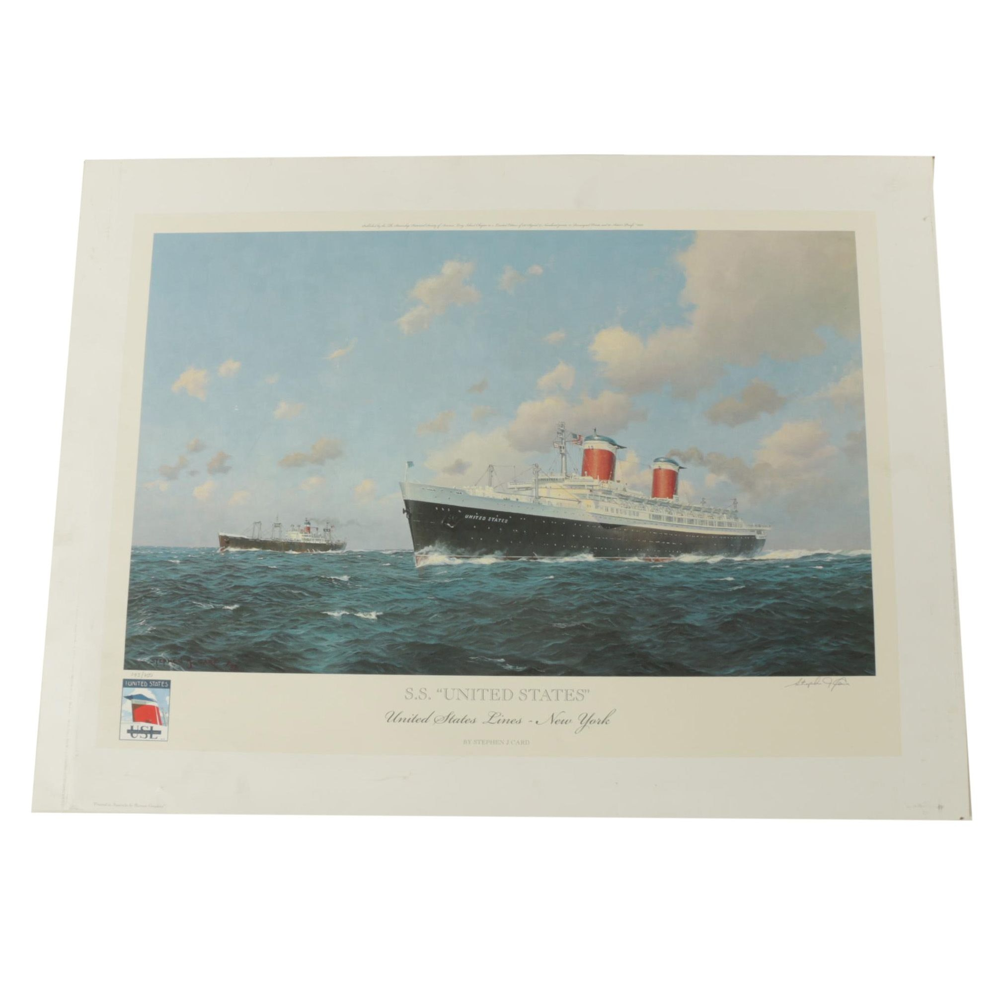 """Stephen J. Card Limited Edition Offset Lithograph """"S.S. United States"""""""