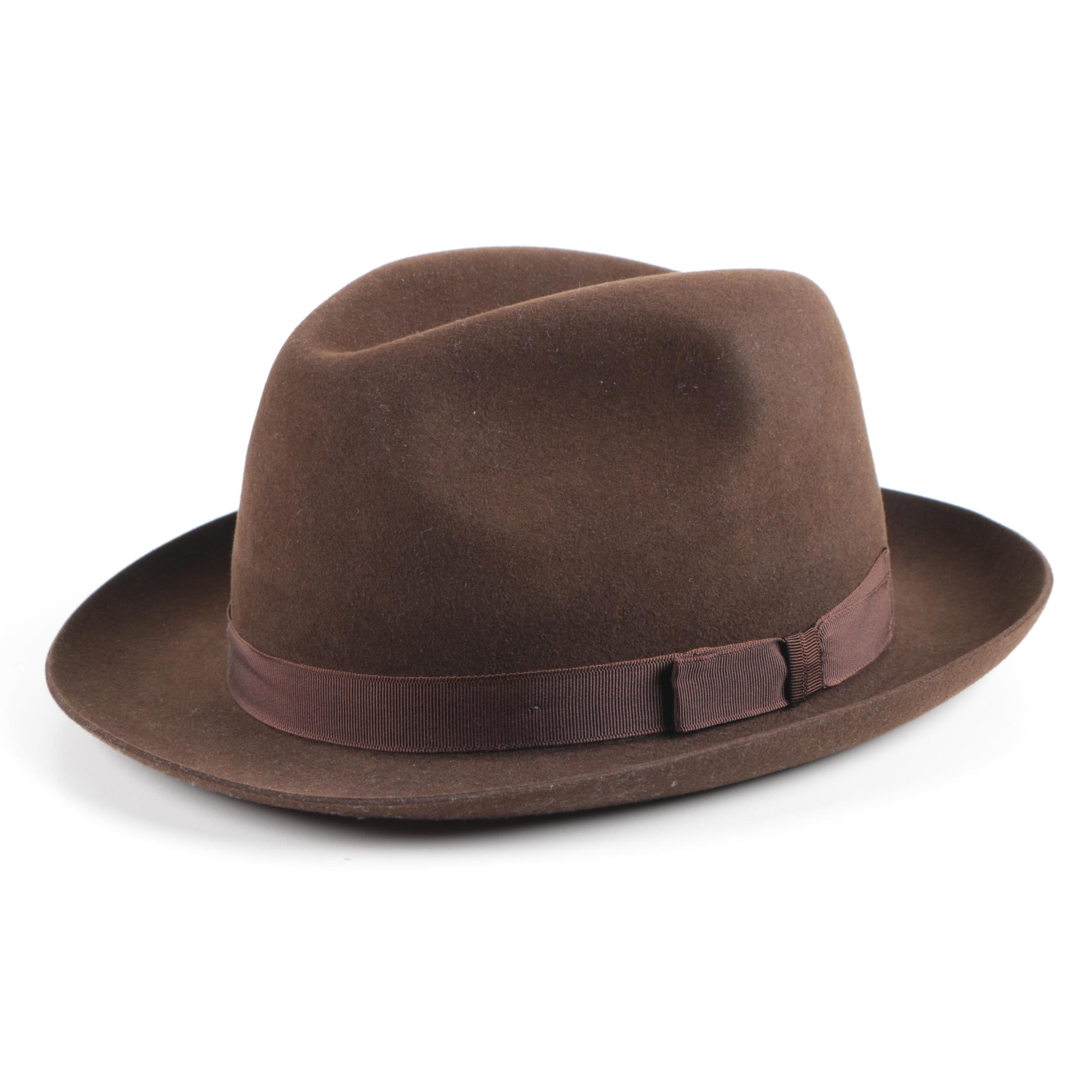 Christys' Brown Fedora Hat with Red Hat Box
