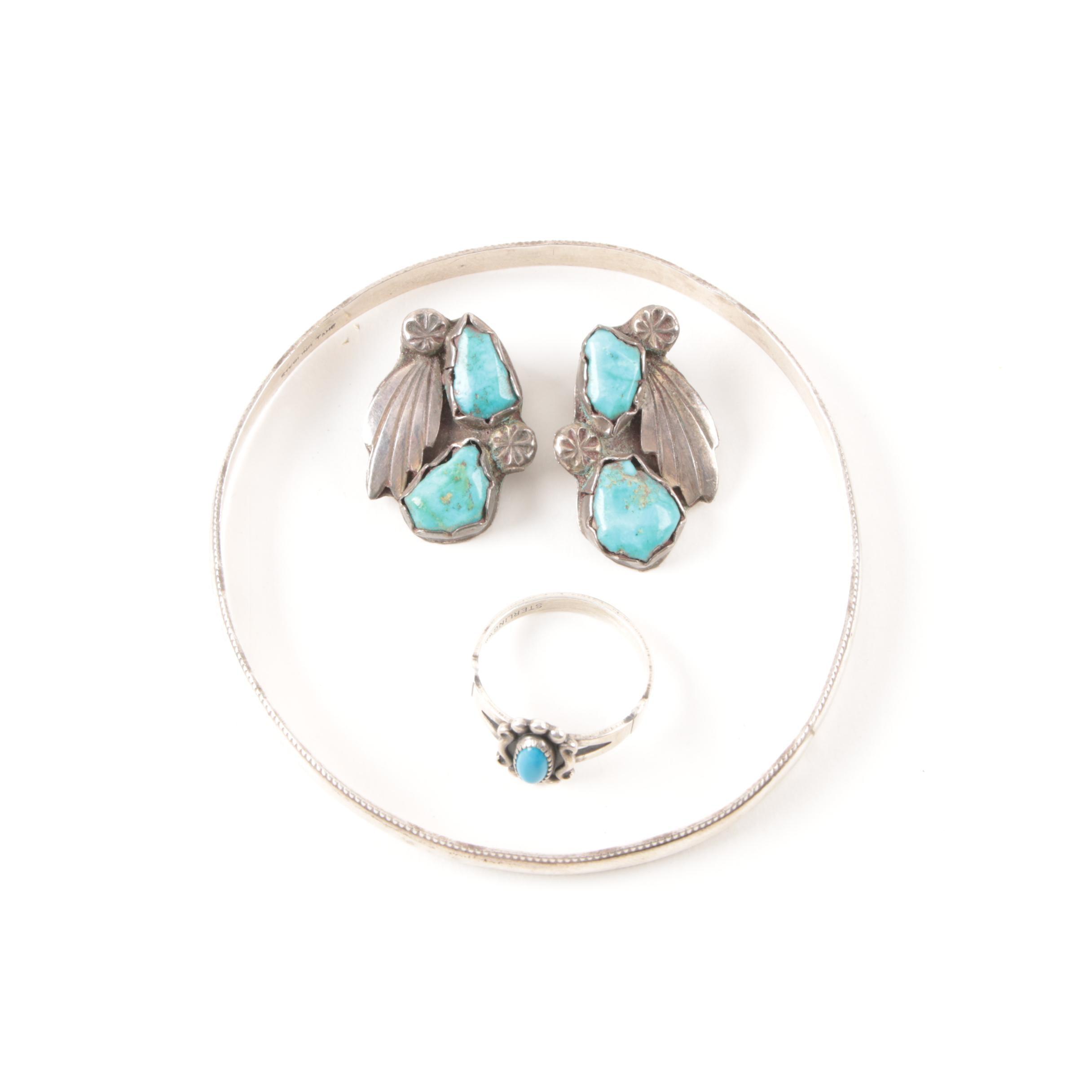 Tahe Navajo Sterling Bangle Bracelet and More