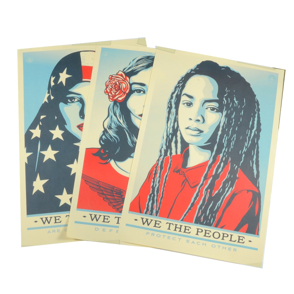 "Shepard Fairey Offset Prints on Paper ""We the People"""