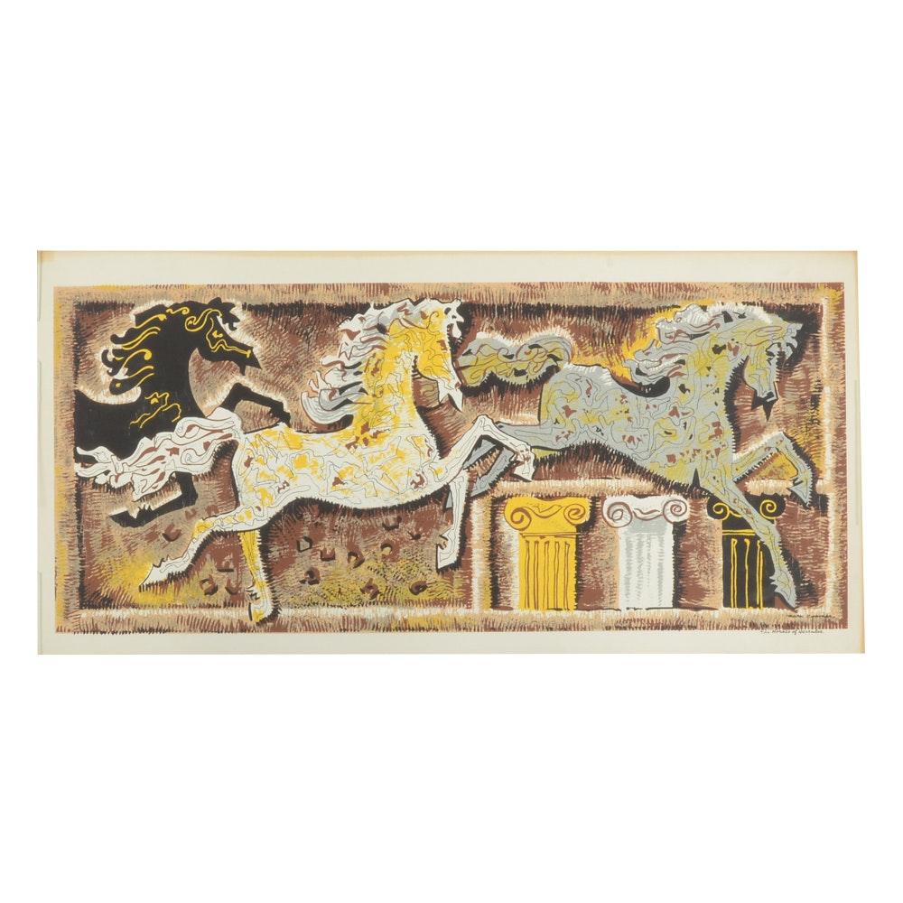 "Mark Coomer Serigraph ""The Horses of Hercules"""