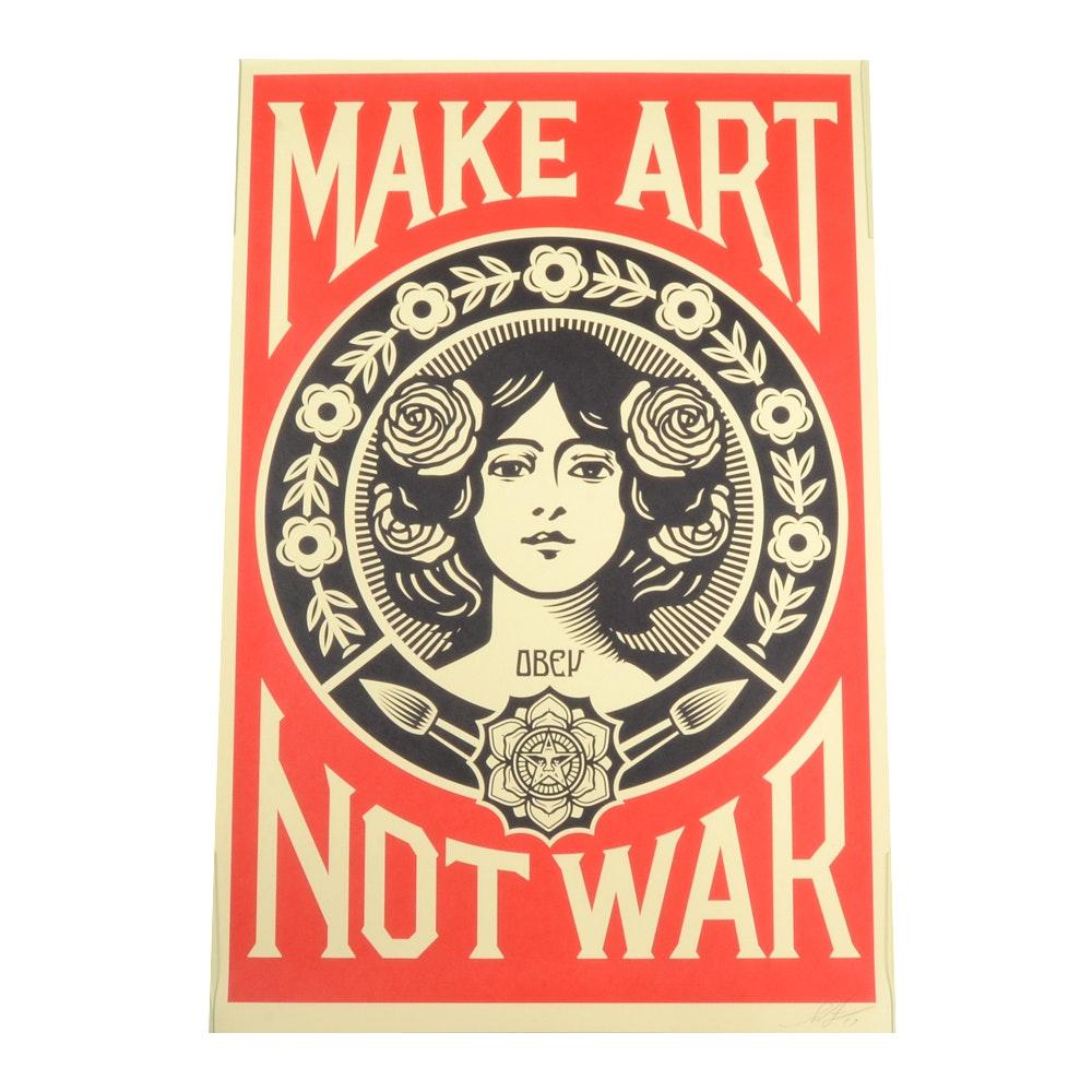 """Shepard Fairey 2017 """"Make Art Not War"""" Lithograph"""