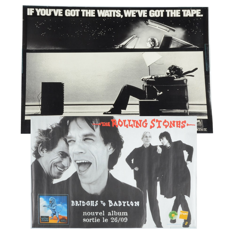 Three Music Posters Including The Rolling Stones