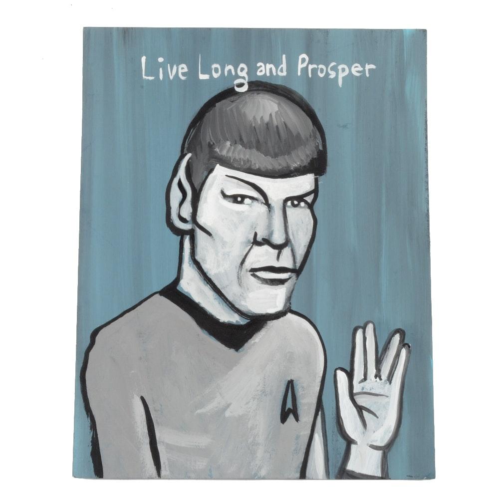 N. Scott Carroll Original Outsider Pop Art Acrylic Painting on Paper of Spock