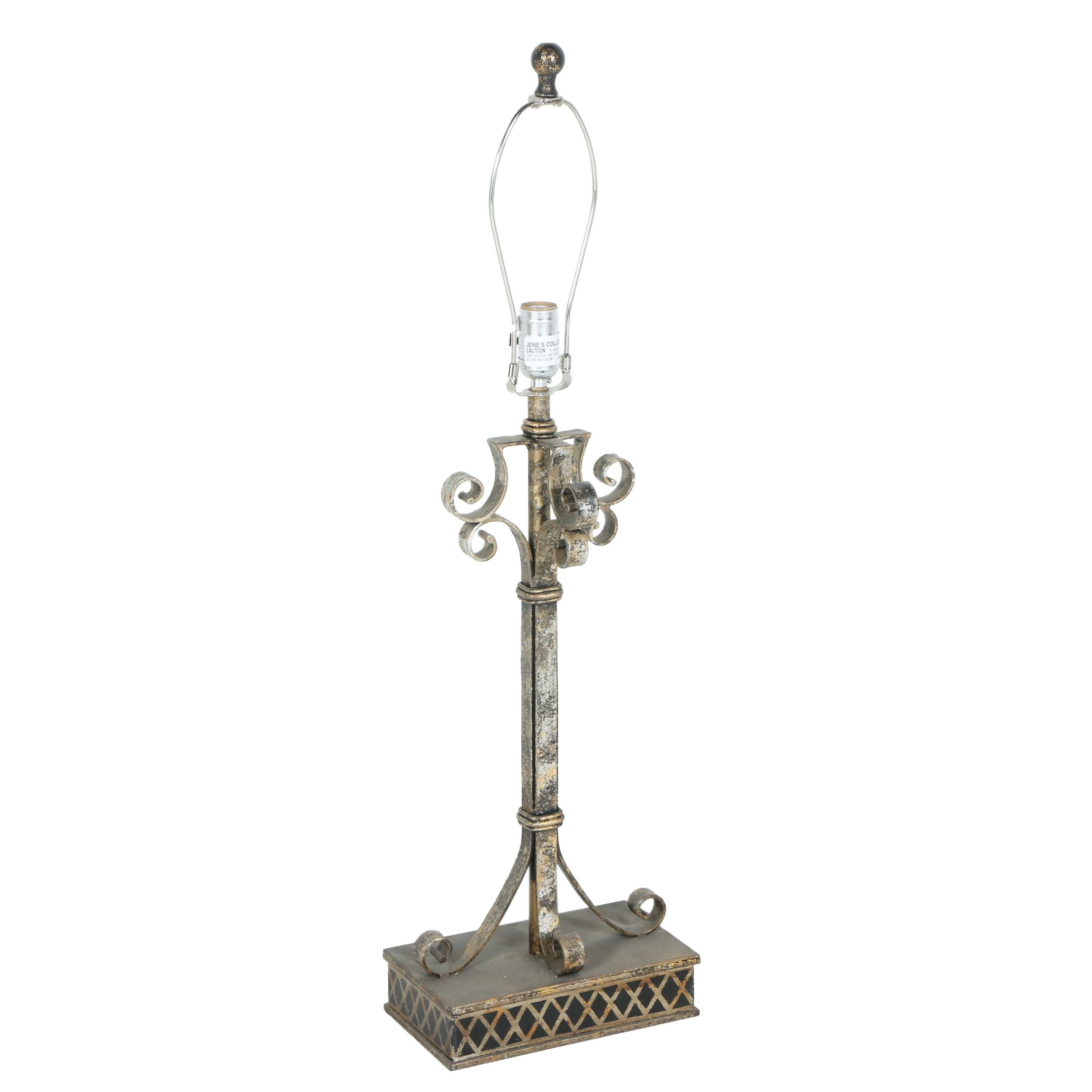 Pewter Tone Scroll Table Lamp