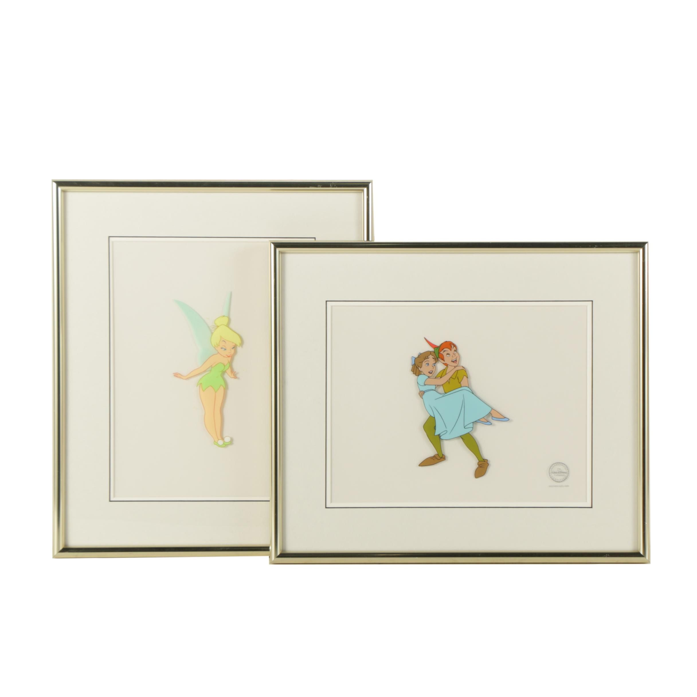 Limited Edition Walt Disney Animation Cels of Peter Pan and Wendy and Tinkerbell