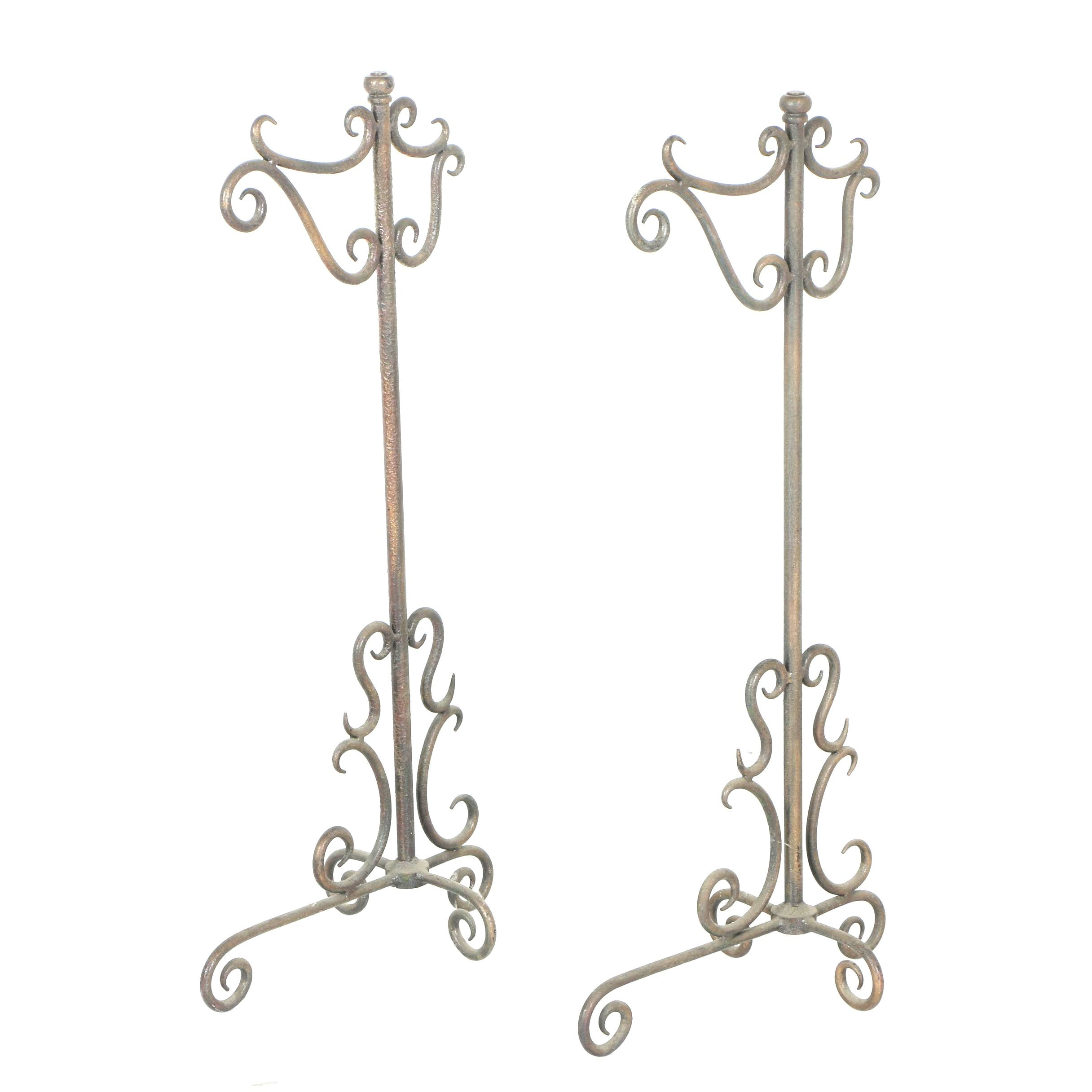 Pair of Scrolled Metal Stands