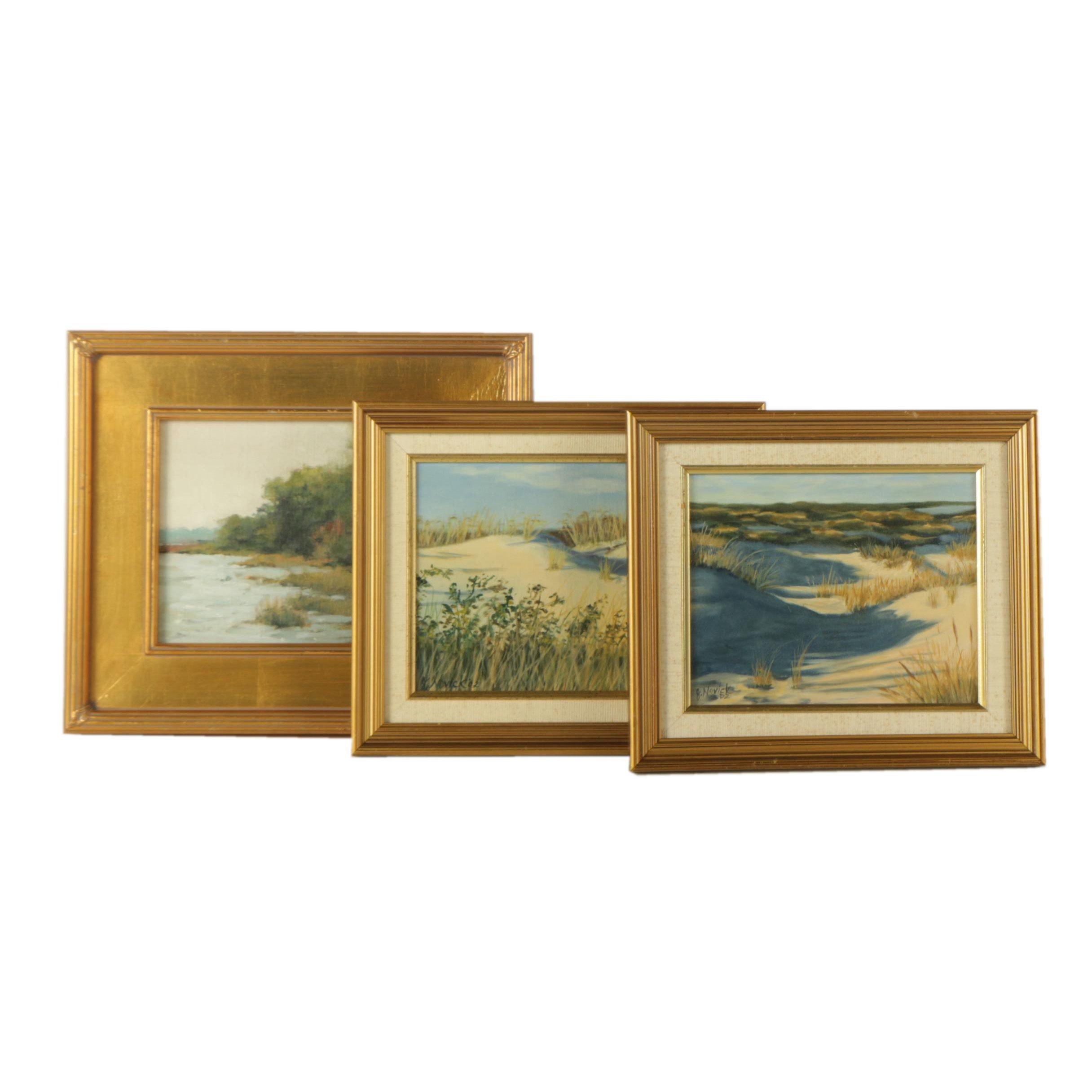 Rose and J. Novick Oil Paintings of Landscape Scenes