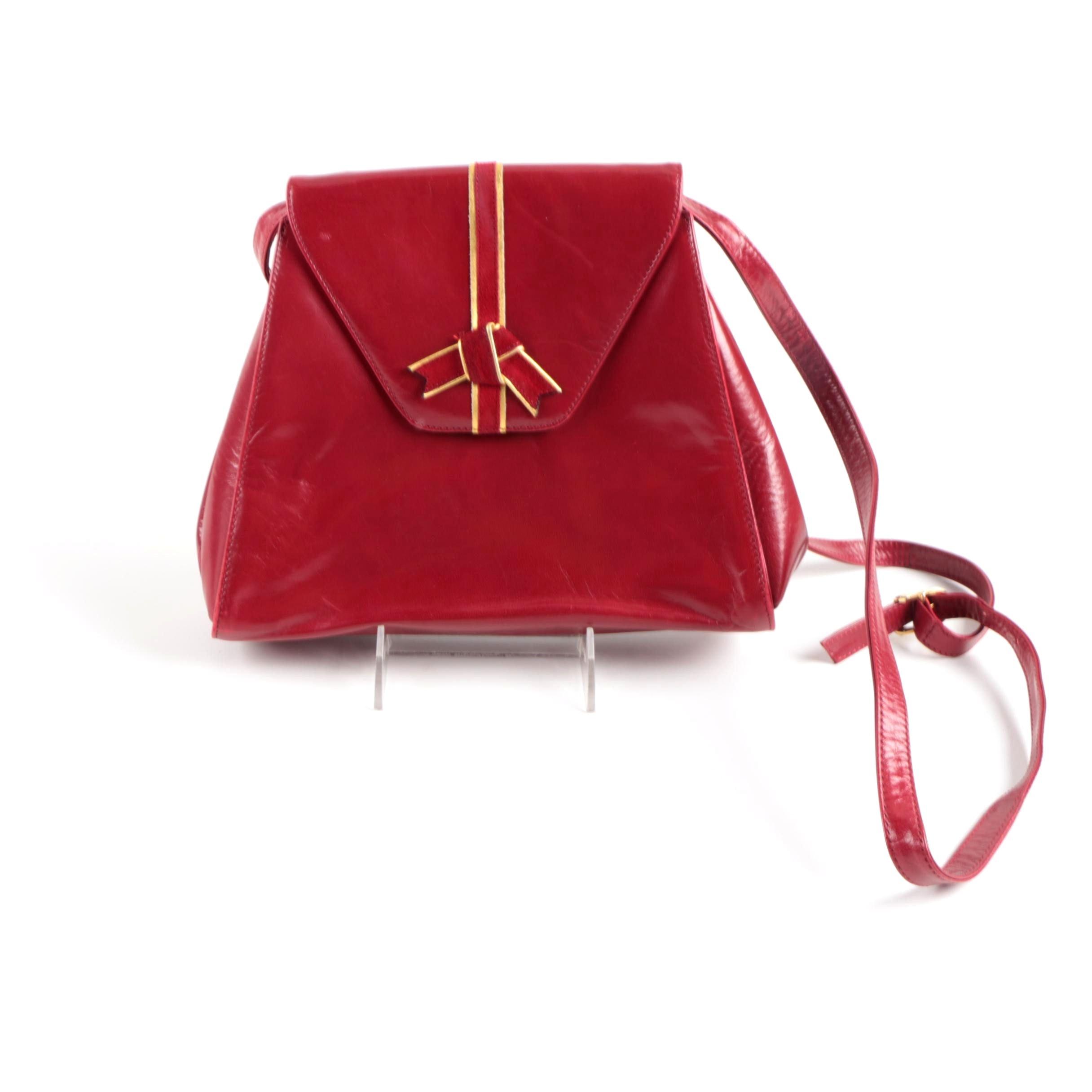 Vintage Red Leather Bally Handbag
