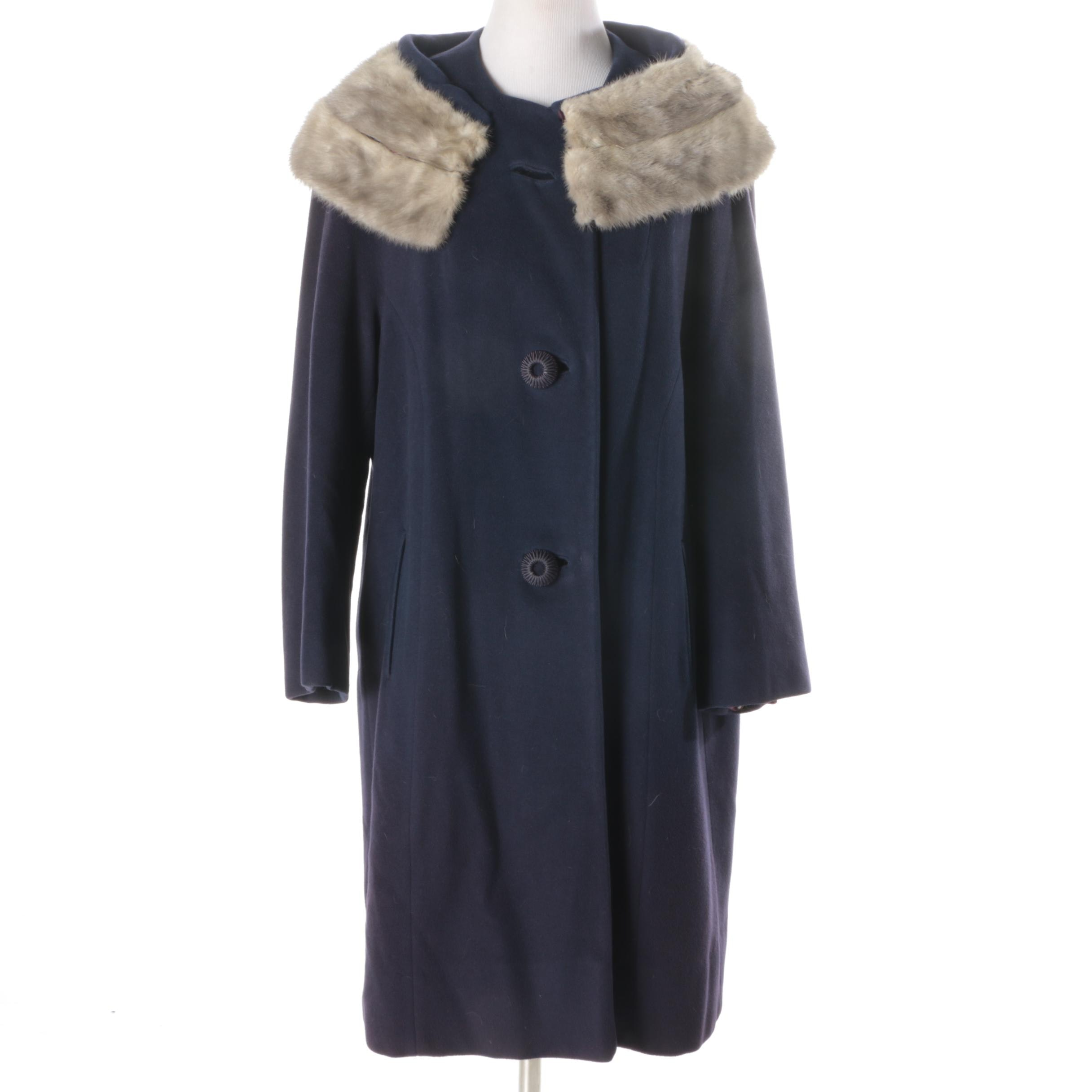 Women's Vintage Navy Blue Wool Coat with Mink Fur Collar