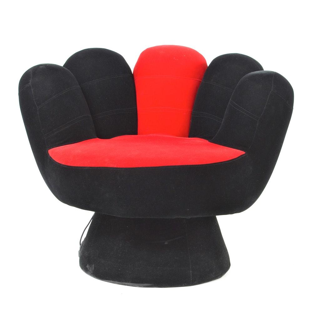Black and Red Velvet Hand Chair