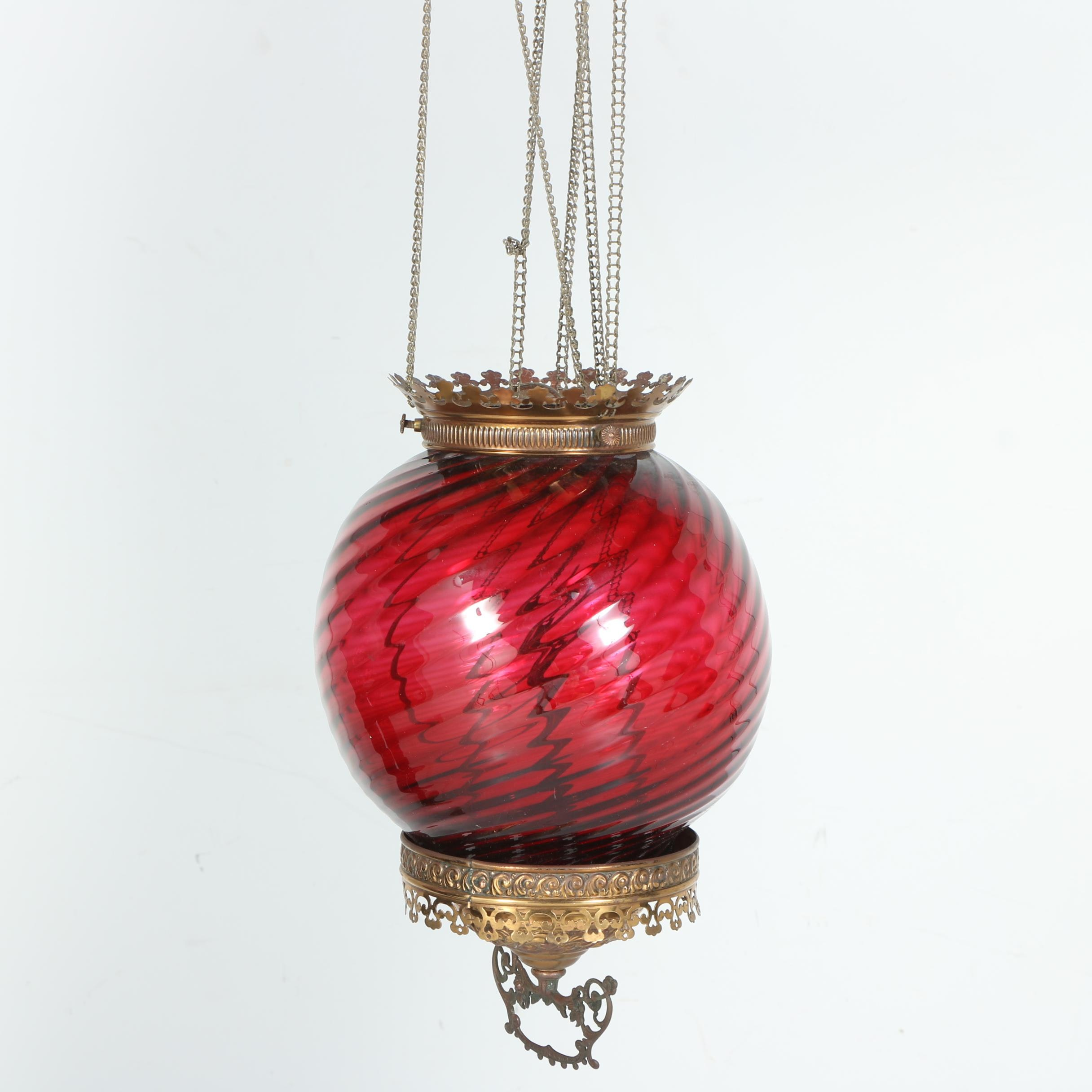 Pendant Light with Cranberry Colored Globe