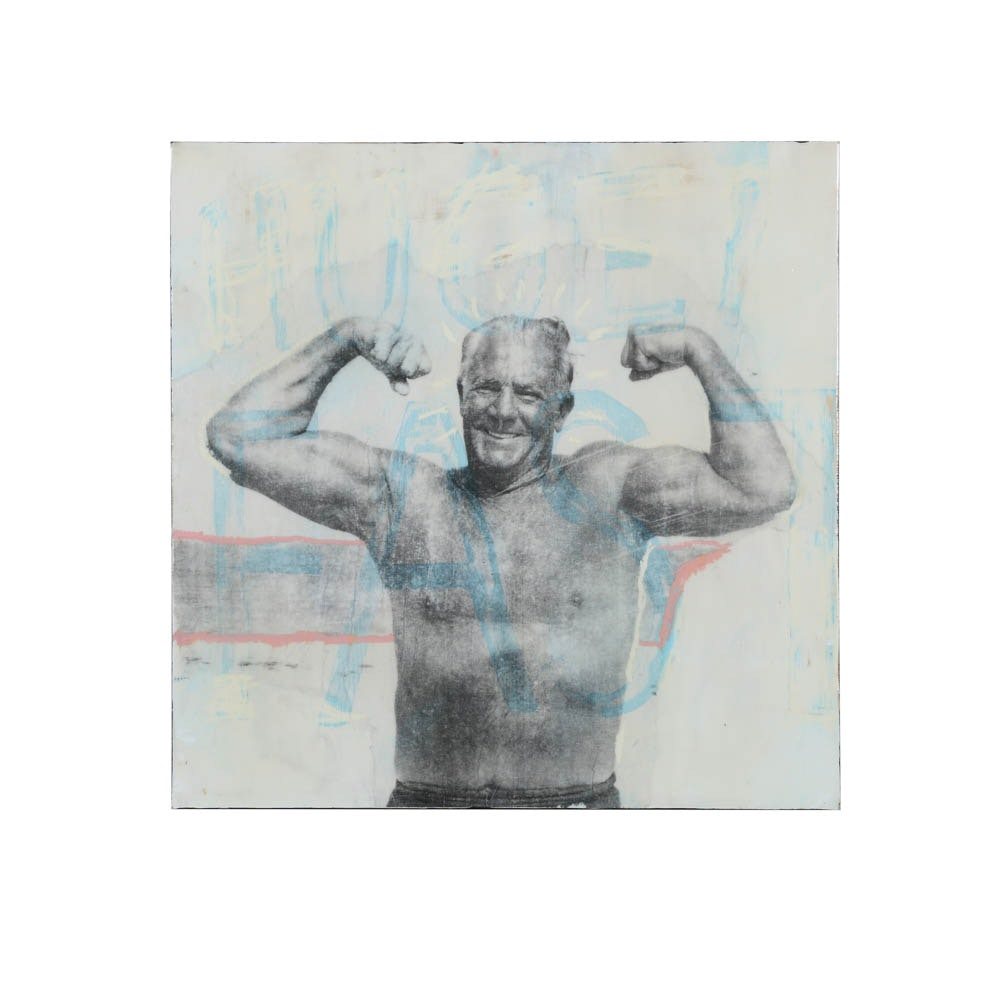 Justin Fontaine Maury Mixed Media on Board of a Flexing Man