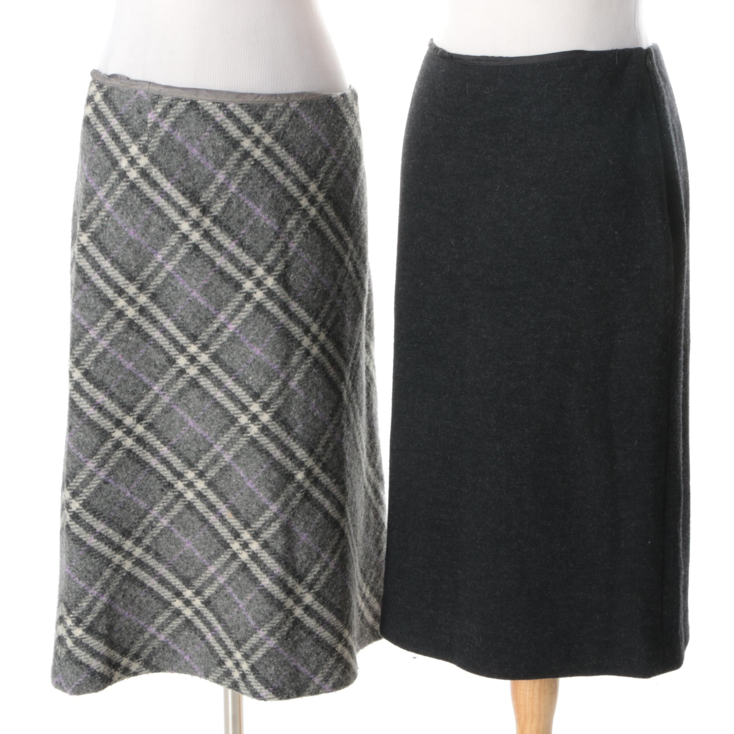 Women's Burberry and Brooks Brothers Wool Skirts