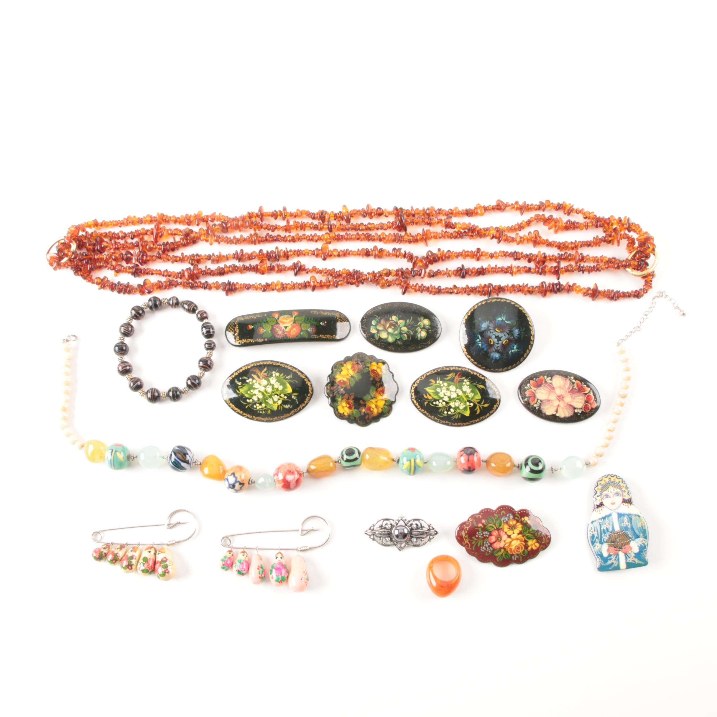 Silver Tone Agate, Amber, and Glass Jewelry