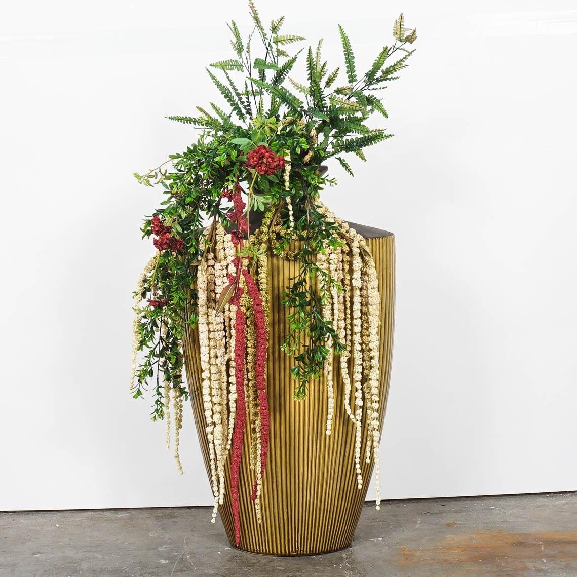 Ceramic Floor Vase with Faux Floral Arrangement