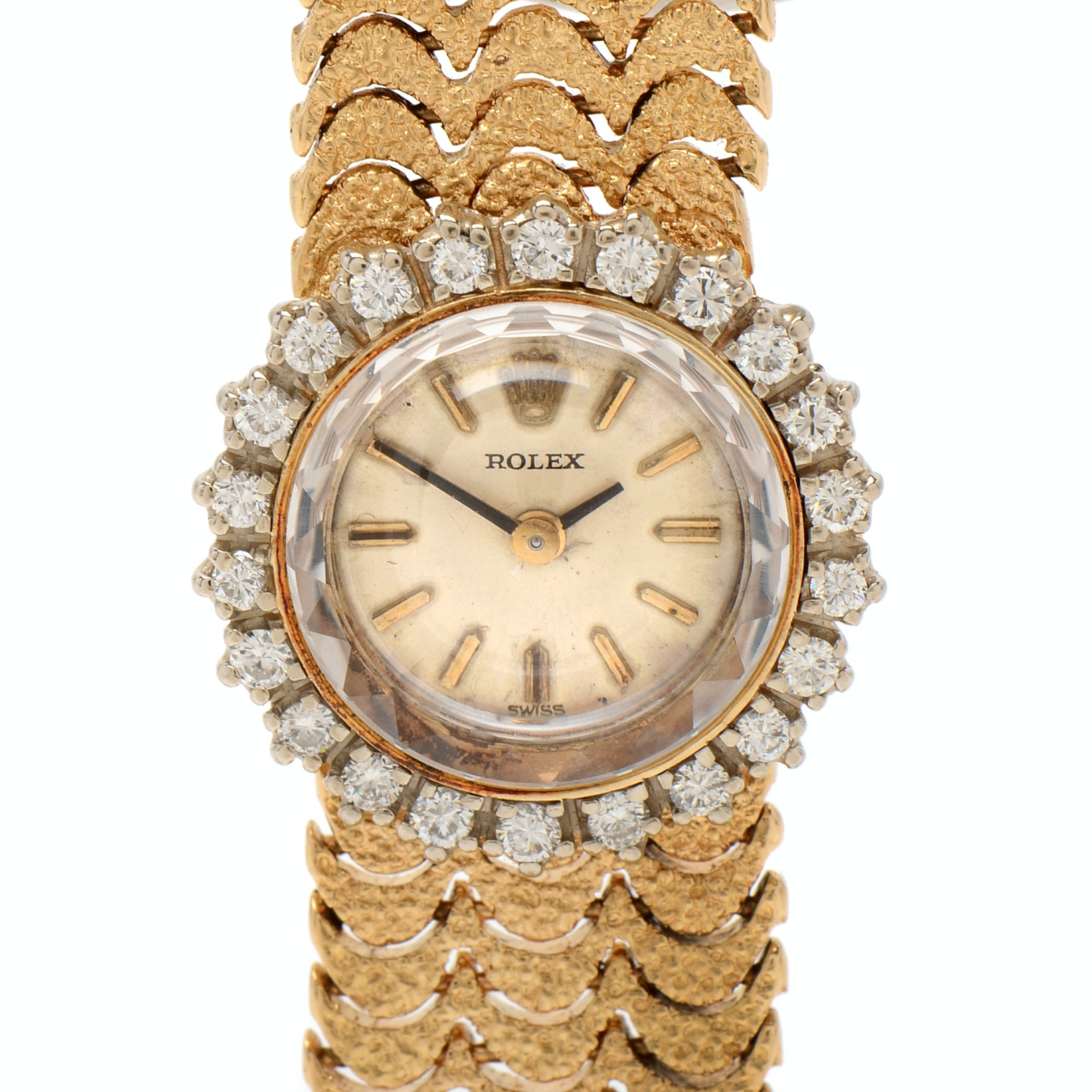 1960s Rolex 14K Yellow Gold and Diamond Bezel Wristwatch