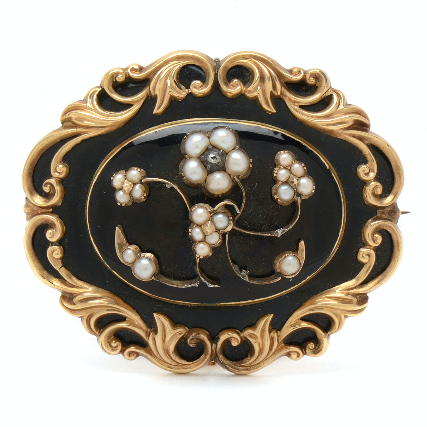 Antique Gold-Filled Victorian Mourning Brooch Pendant