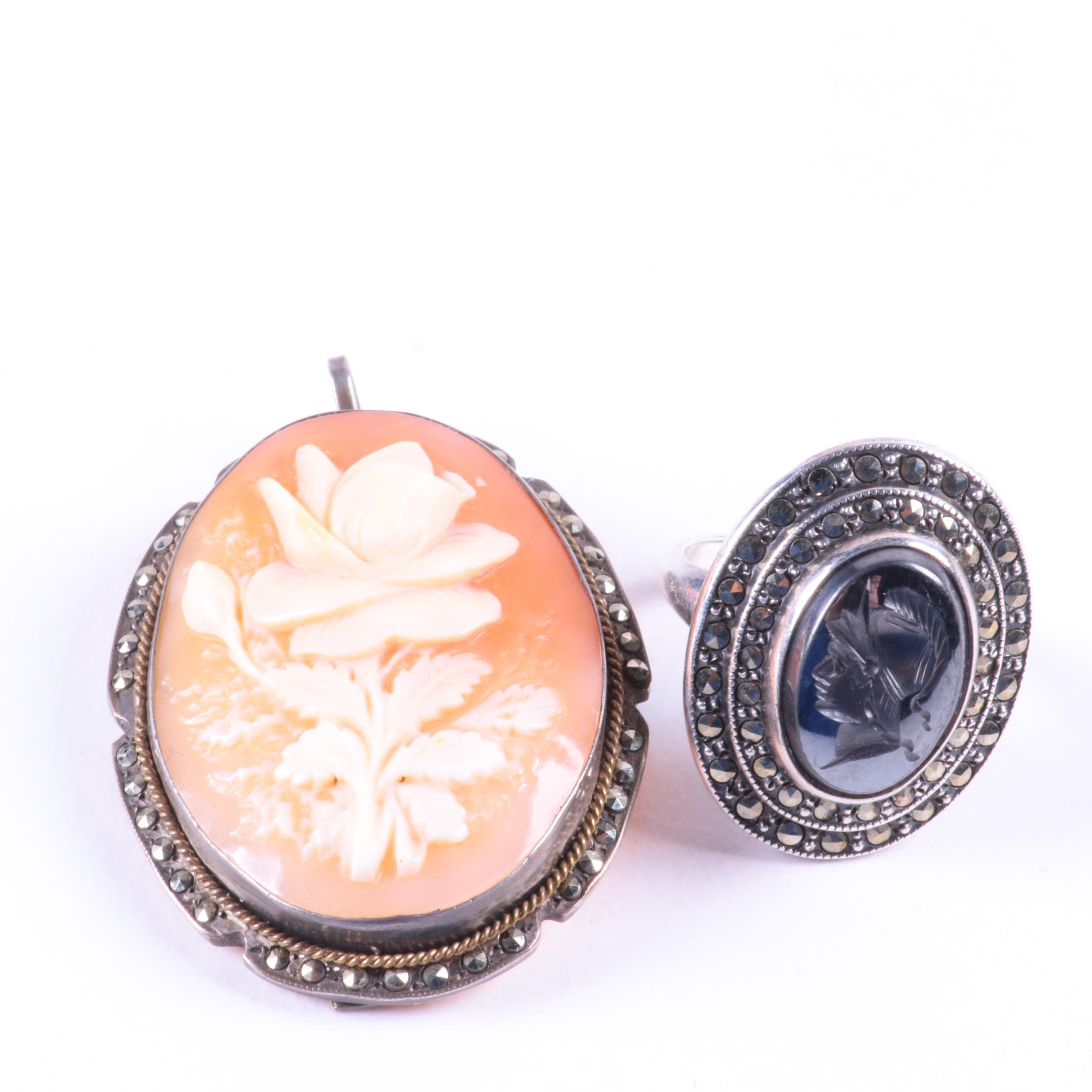 Sterling Silver Ring and 800 Silver Cameo Converter Brooch
