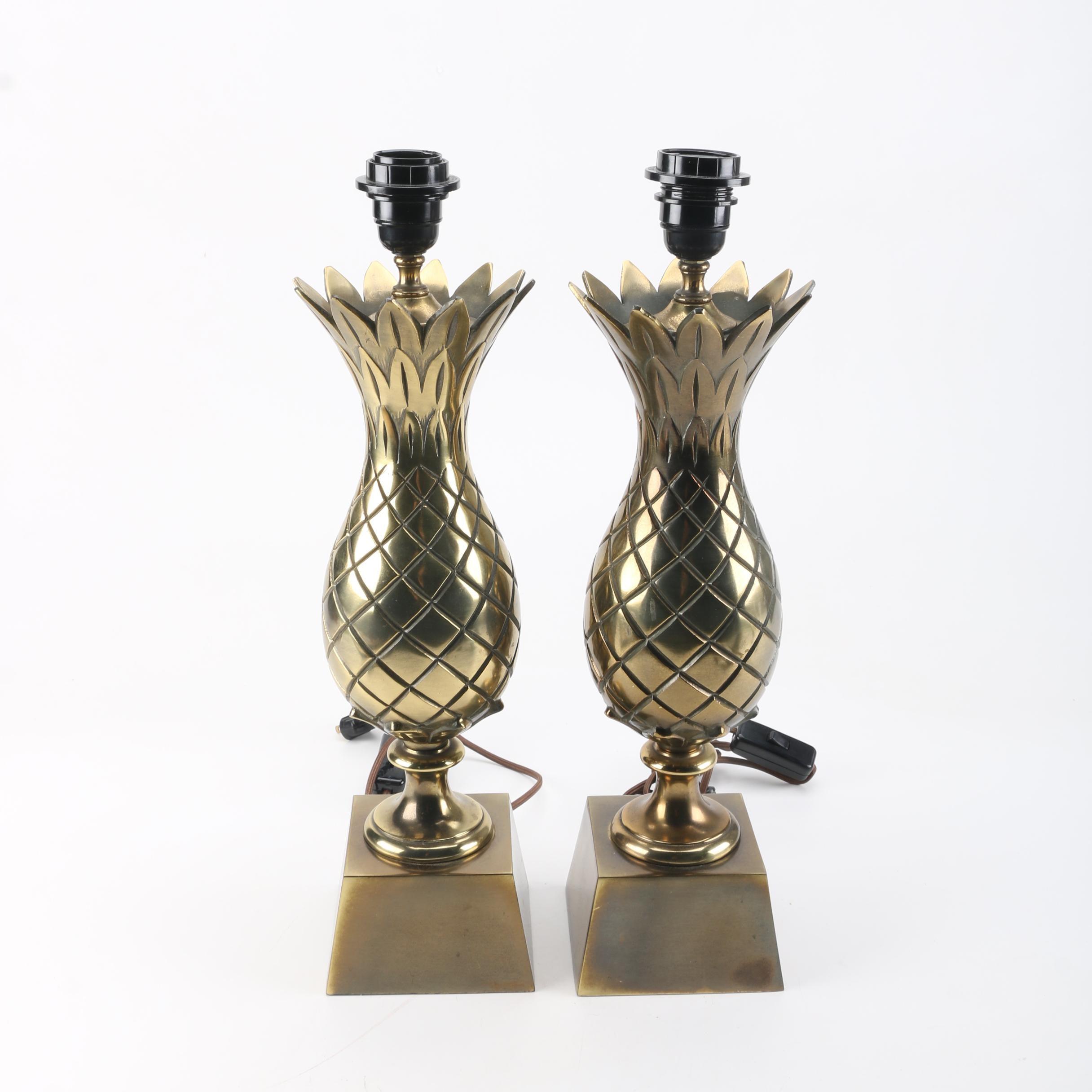 Vintage Mid Century Brass Pineapple Table Lamps