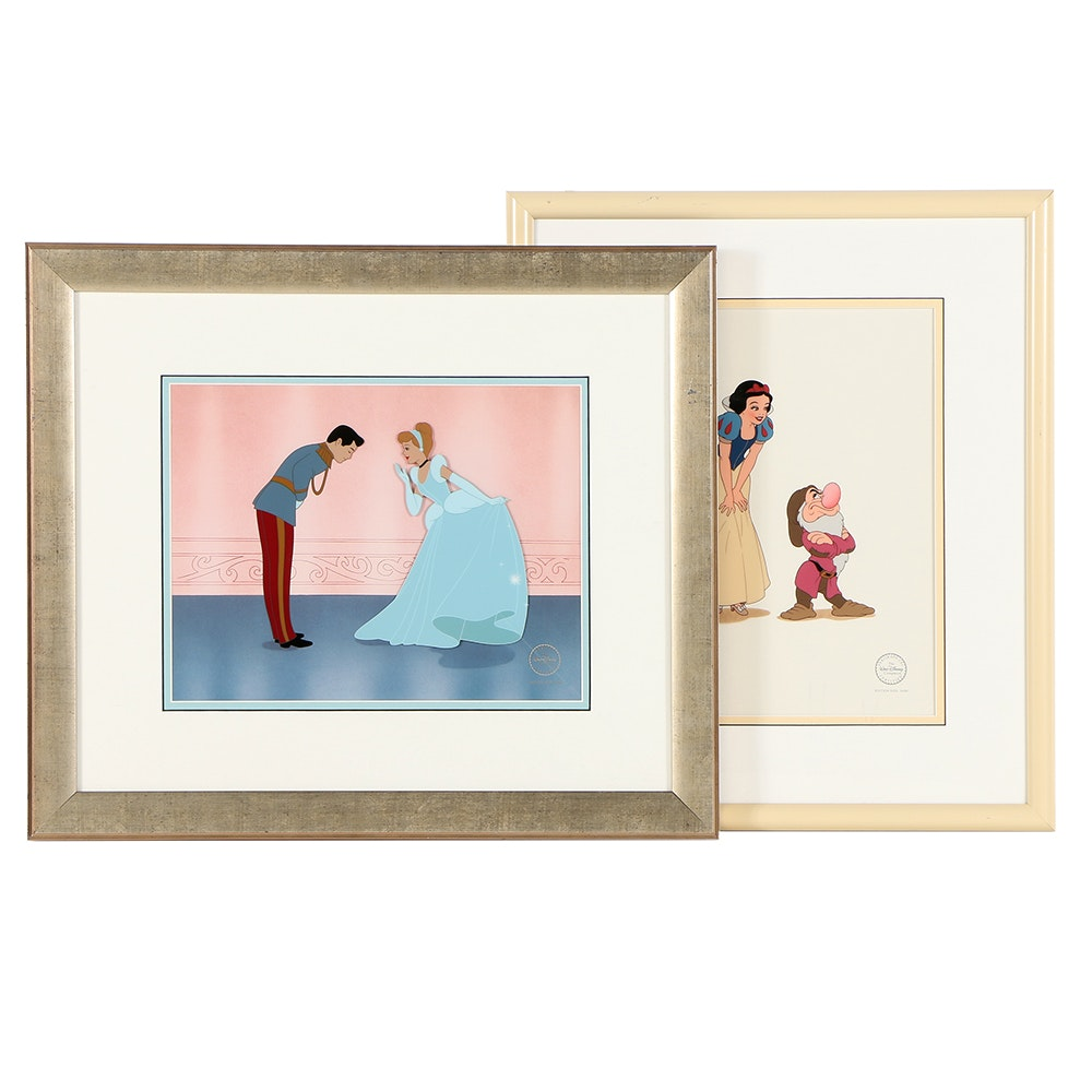"Limited Edition Disney Animation Cels of Snow White and ""Cinderella's Dream"""