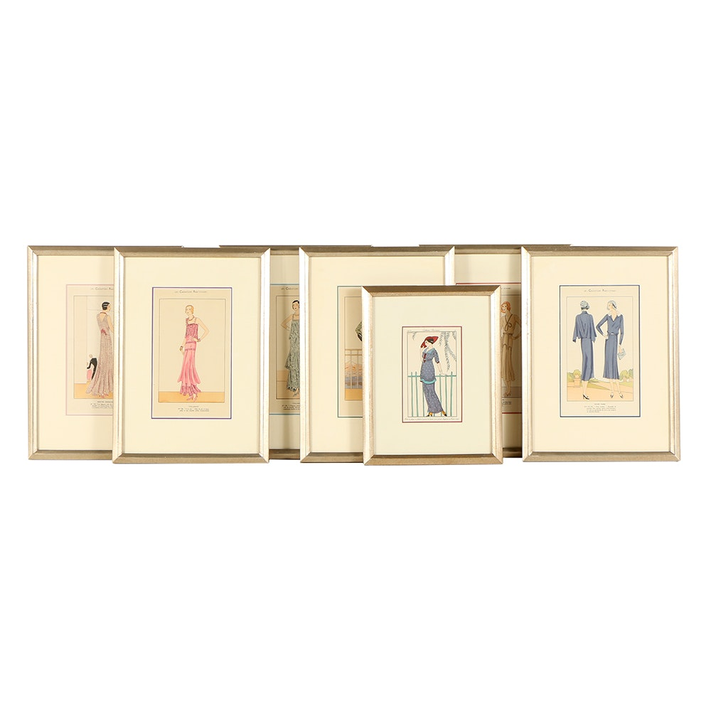 Seven Hand-Colored Lithograph Fashion Plates