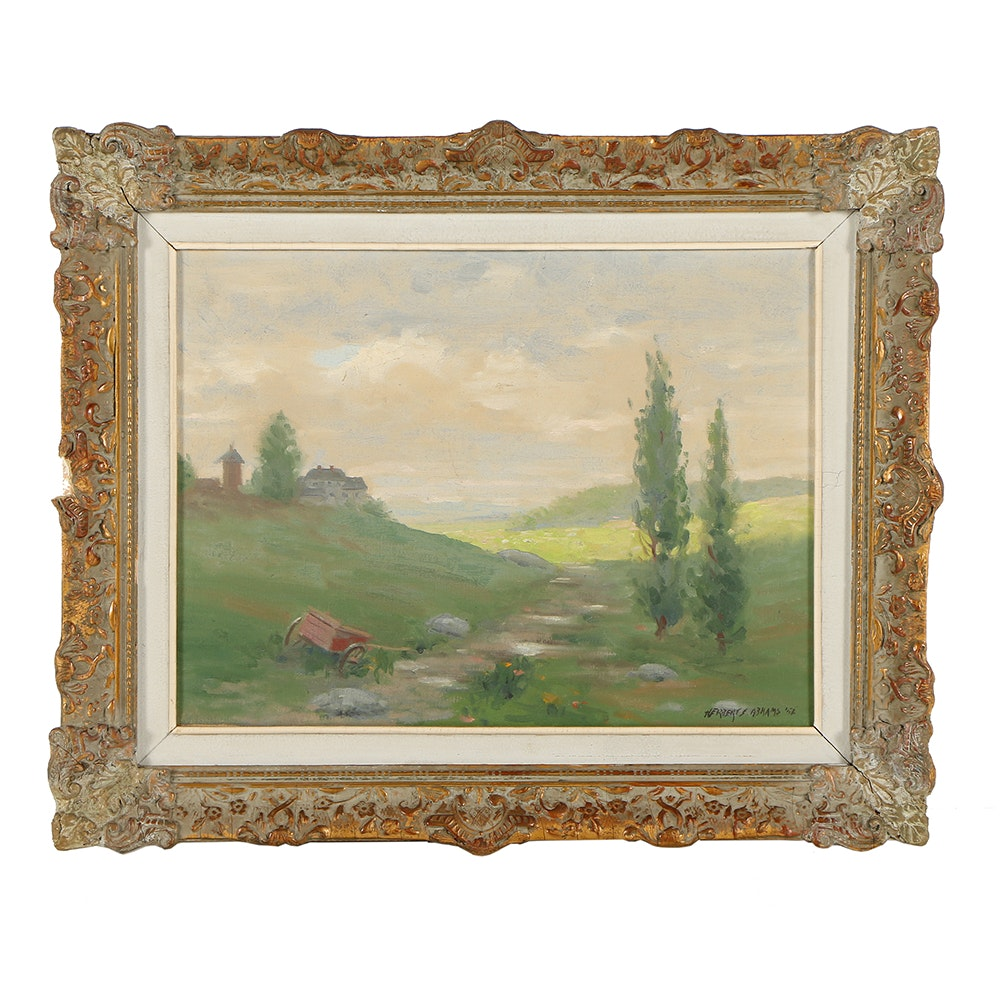 Herbert E. Abrams Oil Painting on Canvas of a Landscape