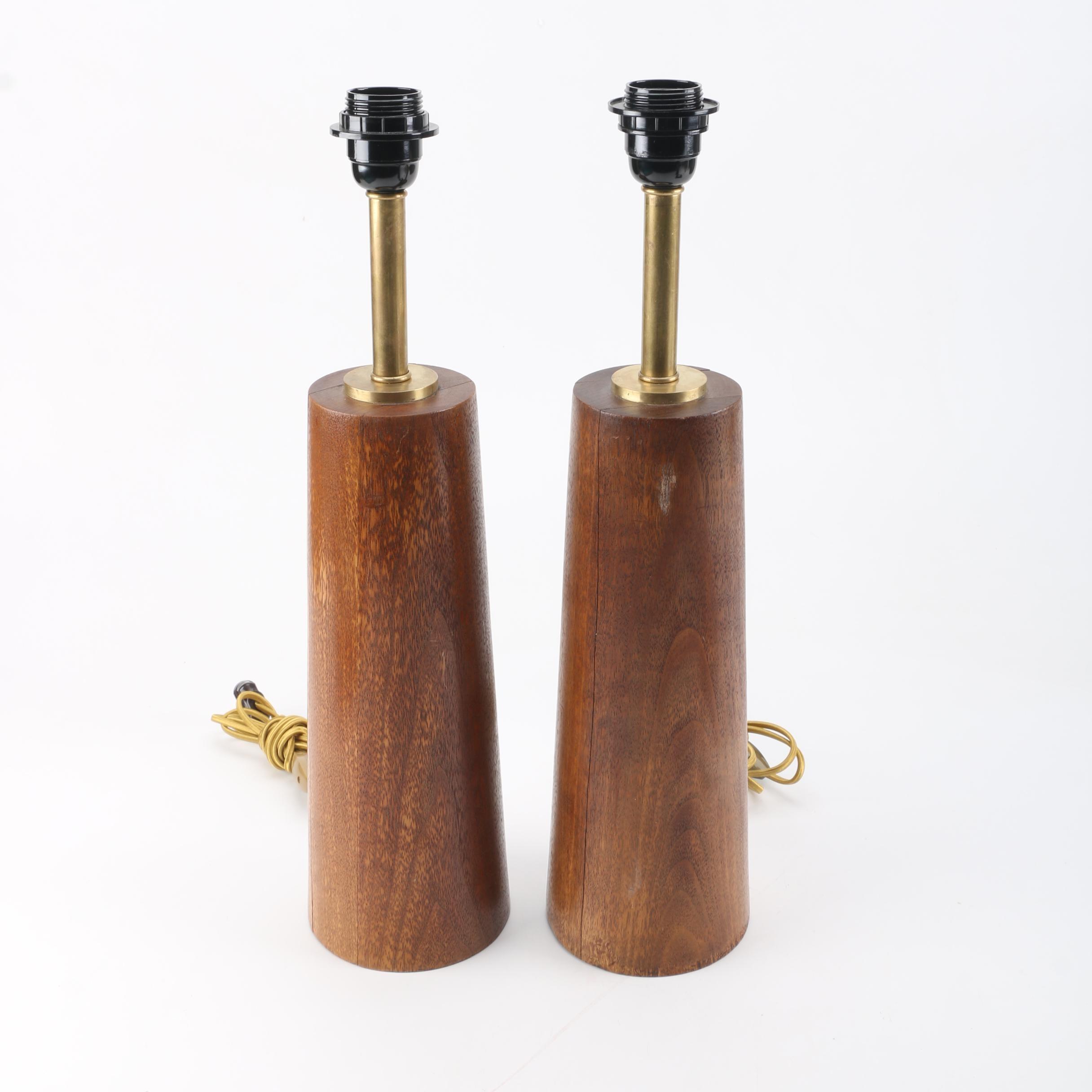 Mid Century Modern Style Mahogany Table Lamps