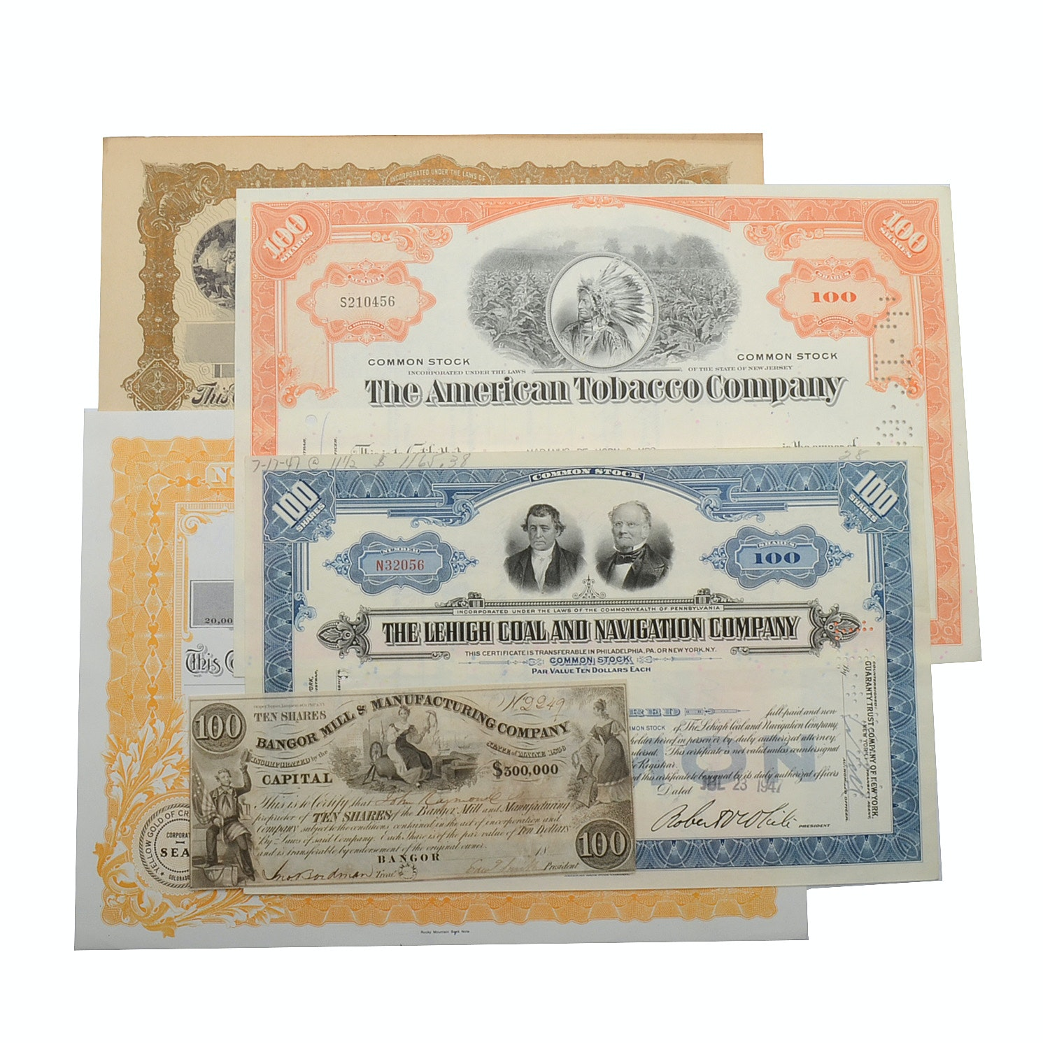 Collection of Canceled Coal Tobacco and Mercantile Stocks
